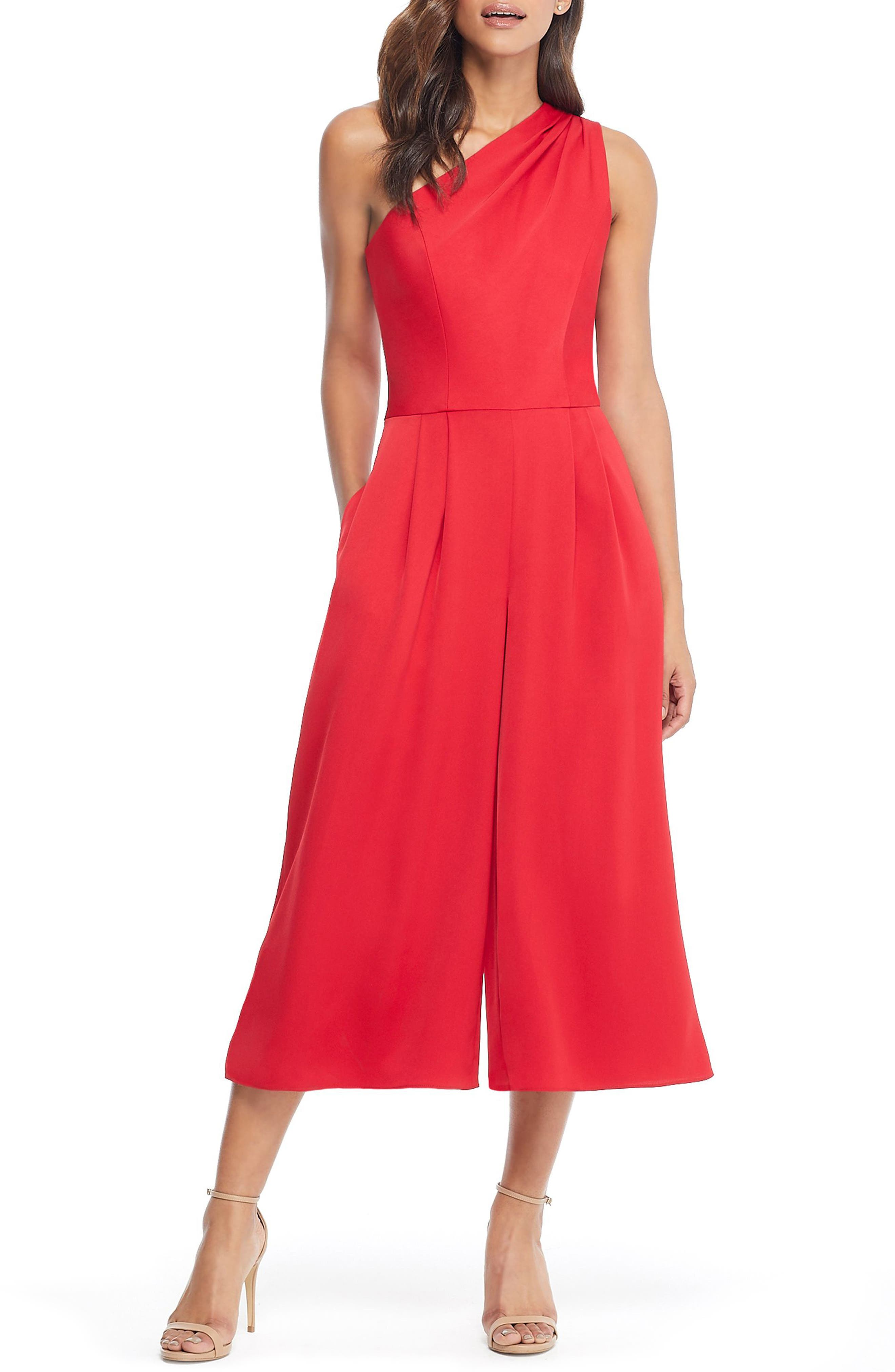 GAL MEETS GLAM COLLECTION, Carmen One-Shoulder Crepe Jumpsuit, Main thumbnail 1, color, 603