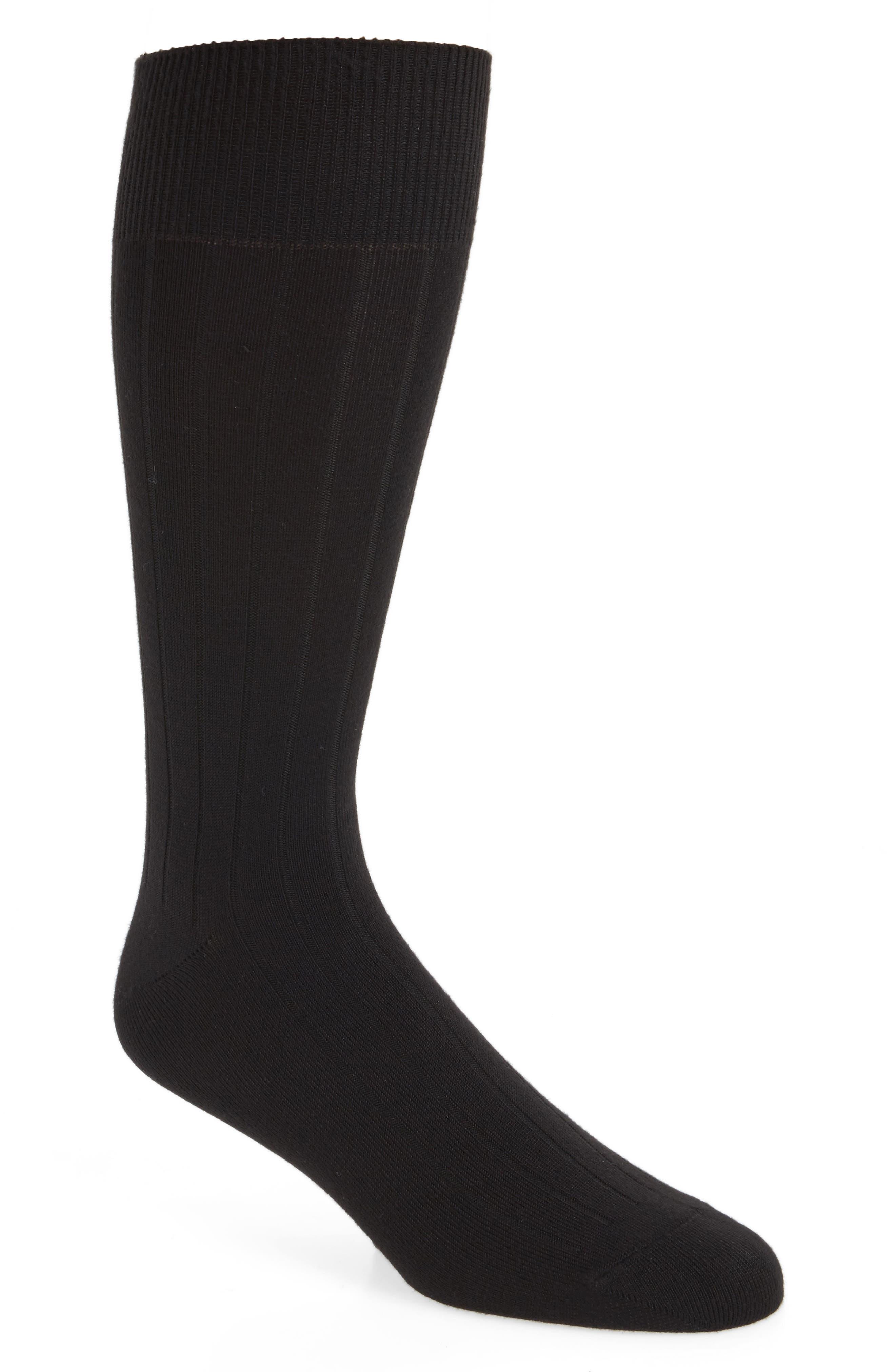 NORDSTROM MEN'S SHOP, Ultra Soft Solid Ribbed Socks, Main thumbnail 1, color, BLACK