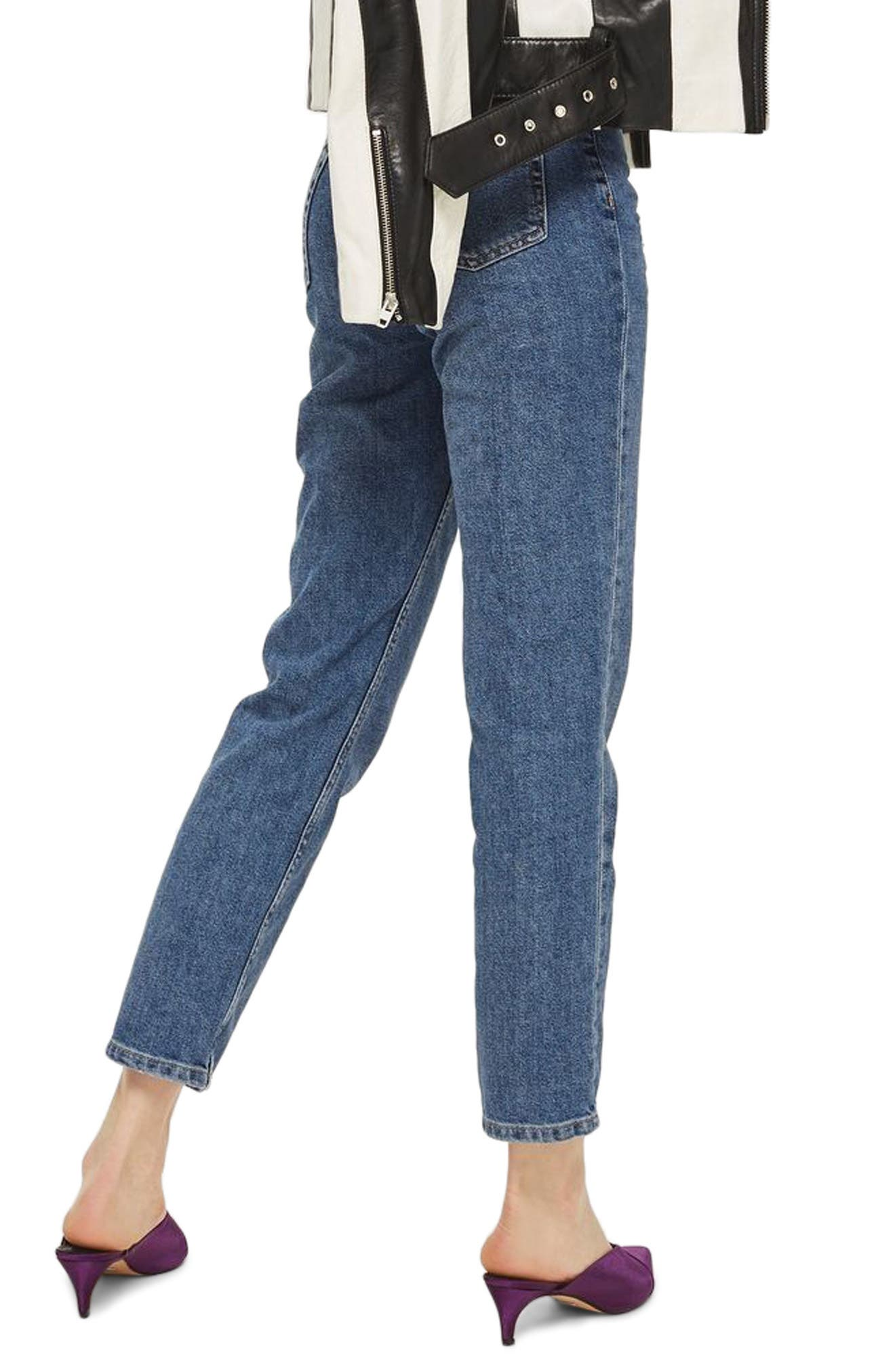 TOPSHOP, Straight Leg Jeans, Alternate thumbnail 4, color, MID DENIM