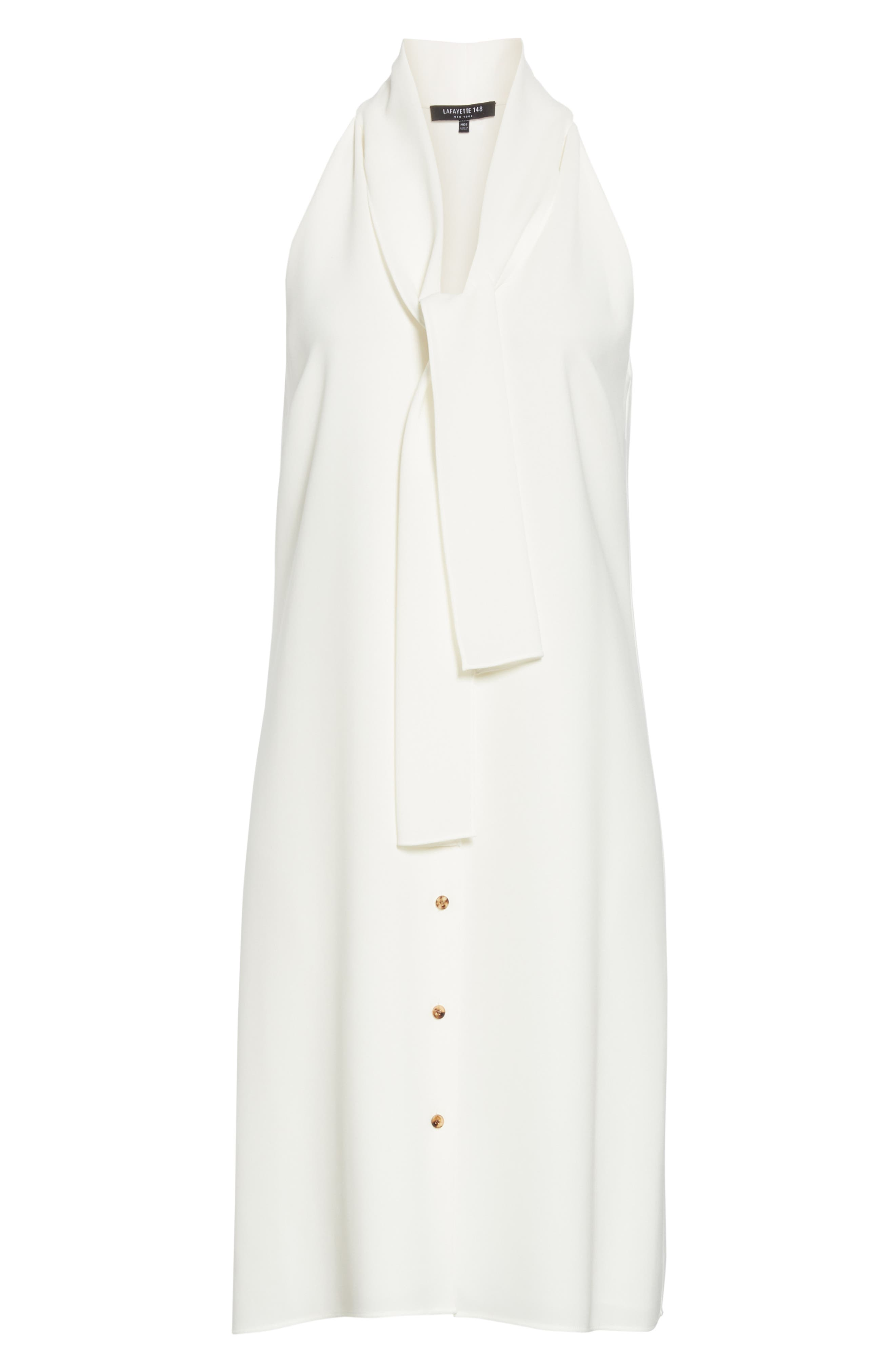 LAFAYETTE 148 NEW YORK, Amore Finesse Crepe Dress, Alternate thumbnail 7, color, CLOUD