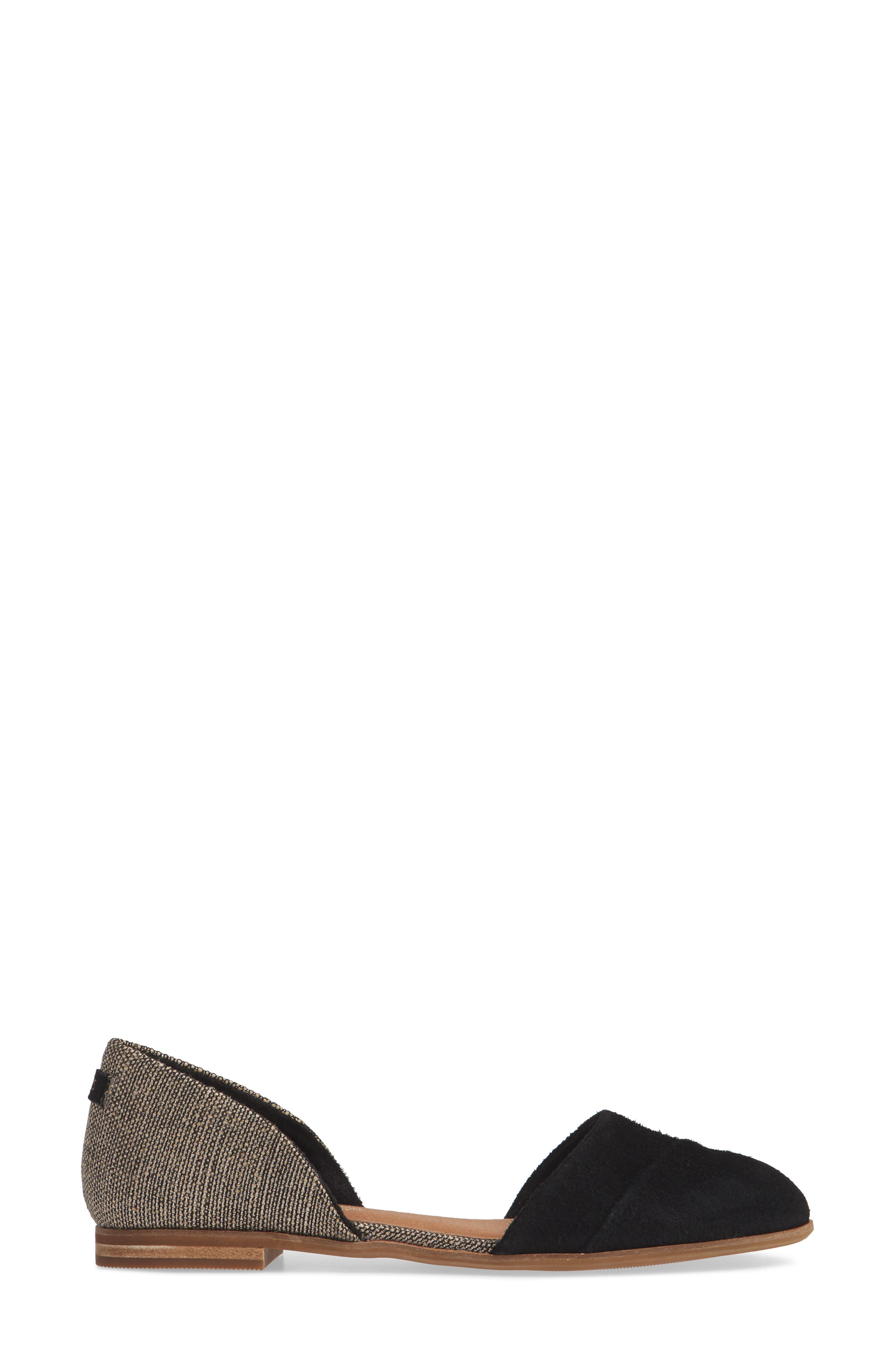 TOMS, Jutti d'Orsay Flat, Alternate thumbnail 3, color, BLACK SUEDE/ METALLIC WOVEN