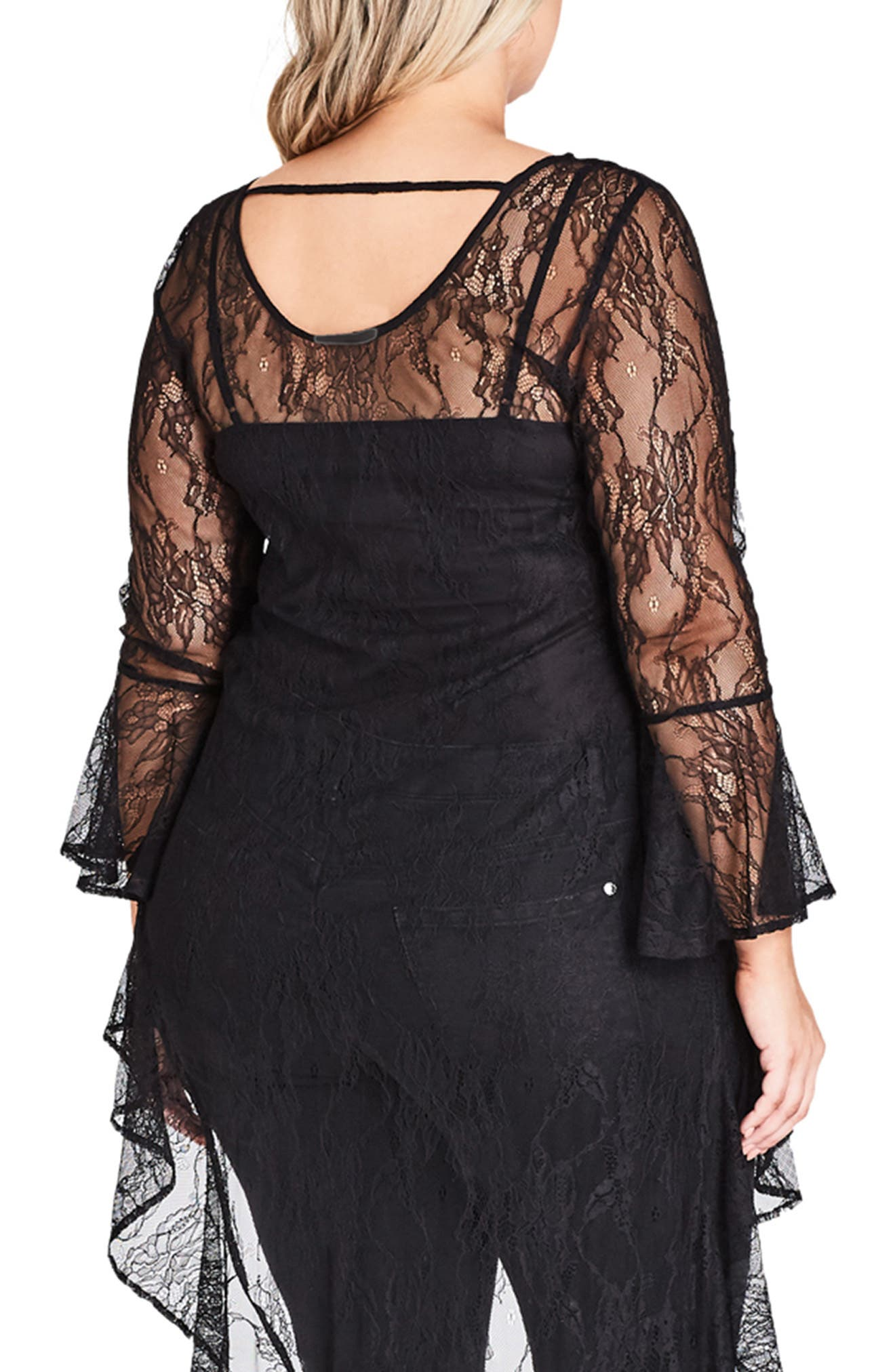 CITY CHIC, Sheer Lace Top, Alternate thumbnail 2, color, BLACK