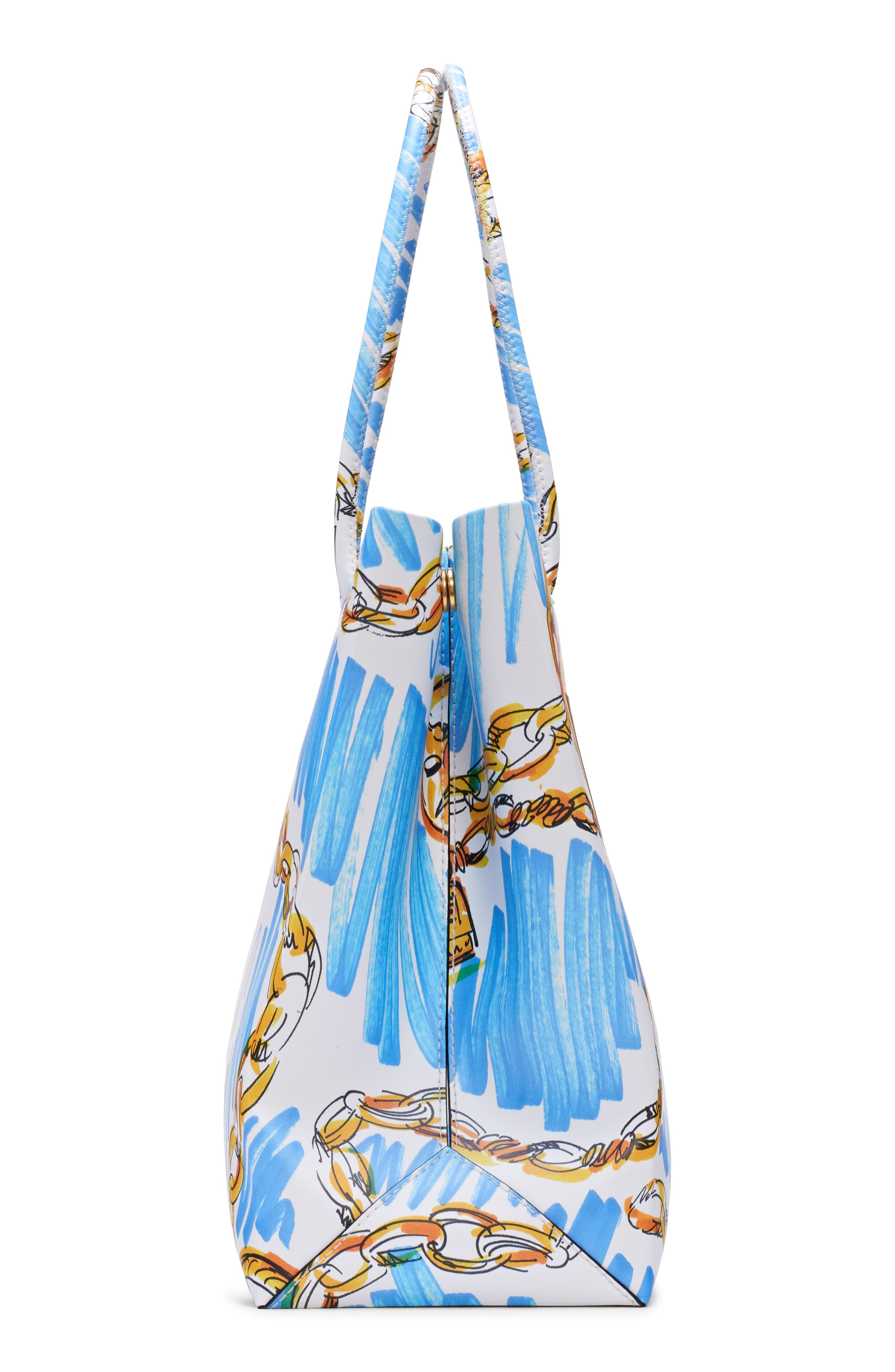 MOSCHINO, Medium Chain Scribble Tote, Alternate thumbnail 5, color, FANTASY PRINT WHITE
