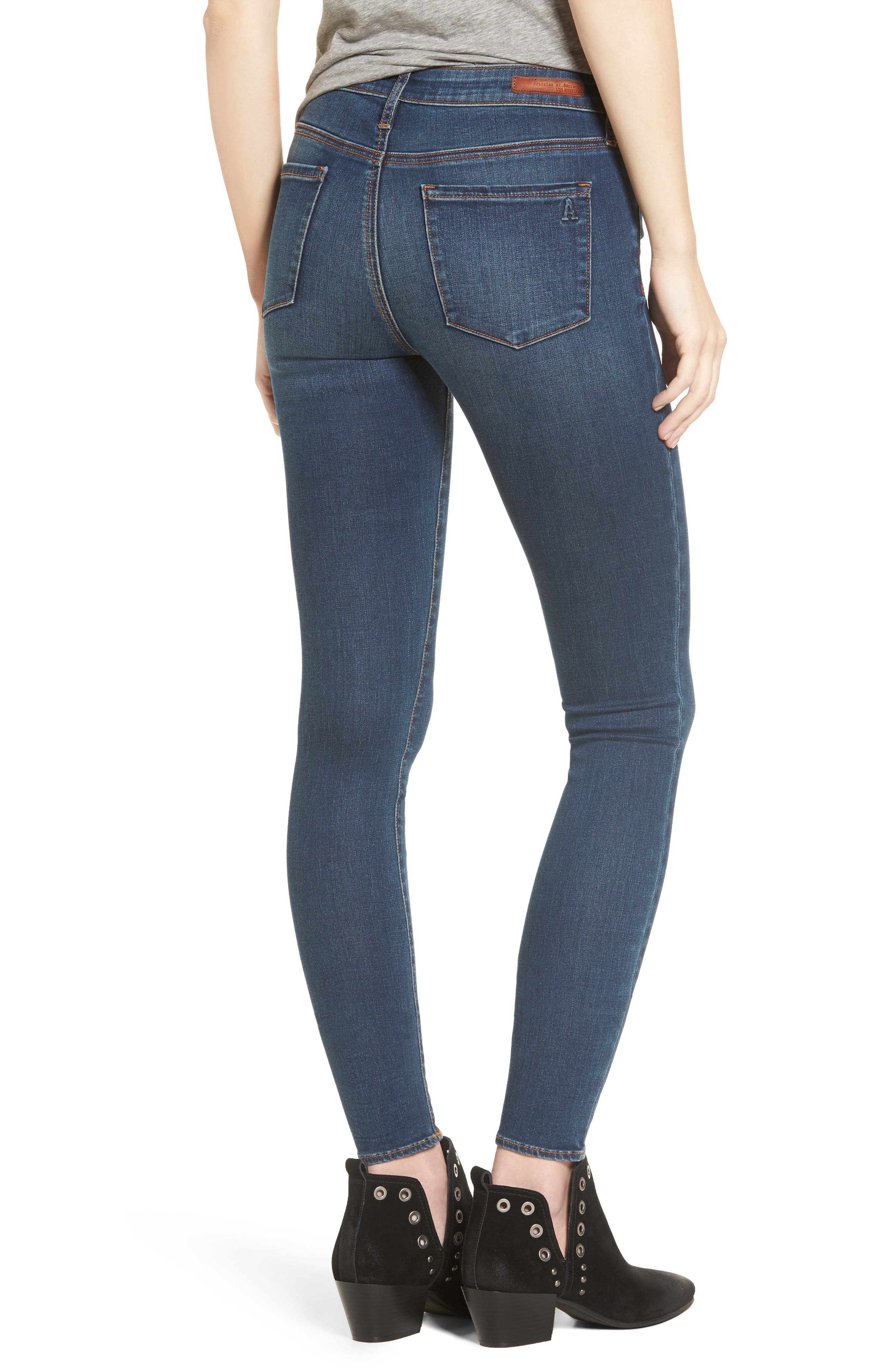 ARTICLES OF SOCIETY, Mya Skinny Jeans, Alternate thumbnail 2, color, 499