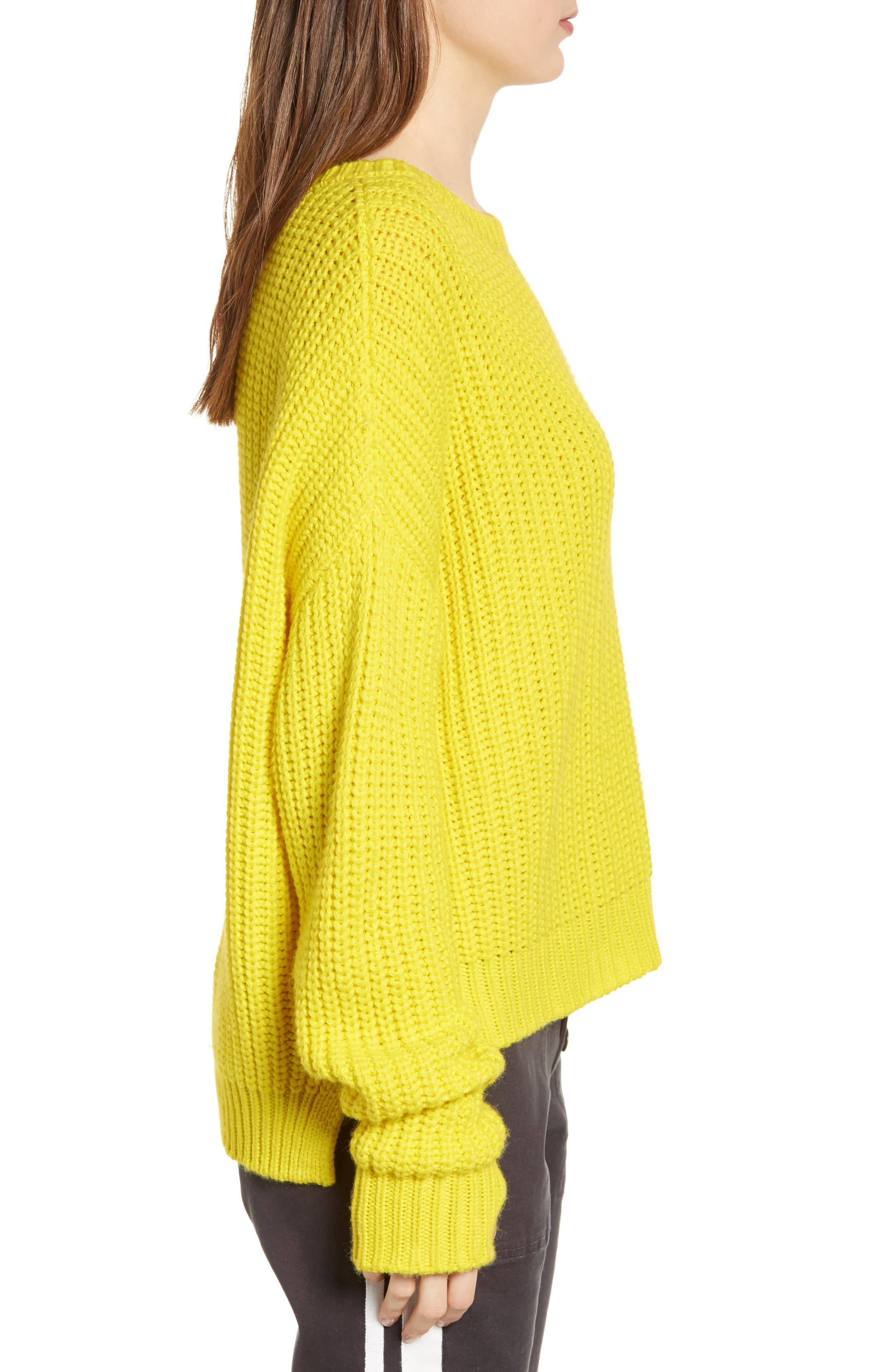 PAM & GELA, High/Low Sweater, Alternate thumbnail 3, color, 729