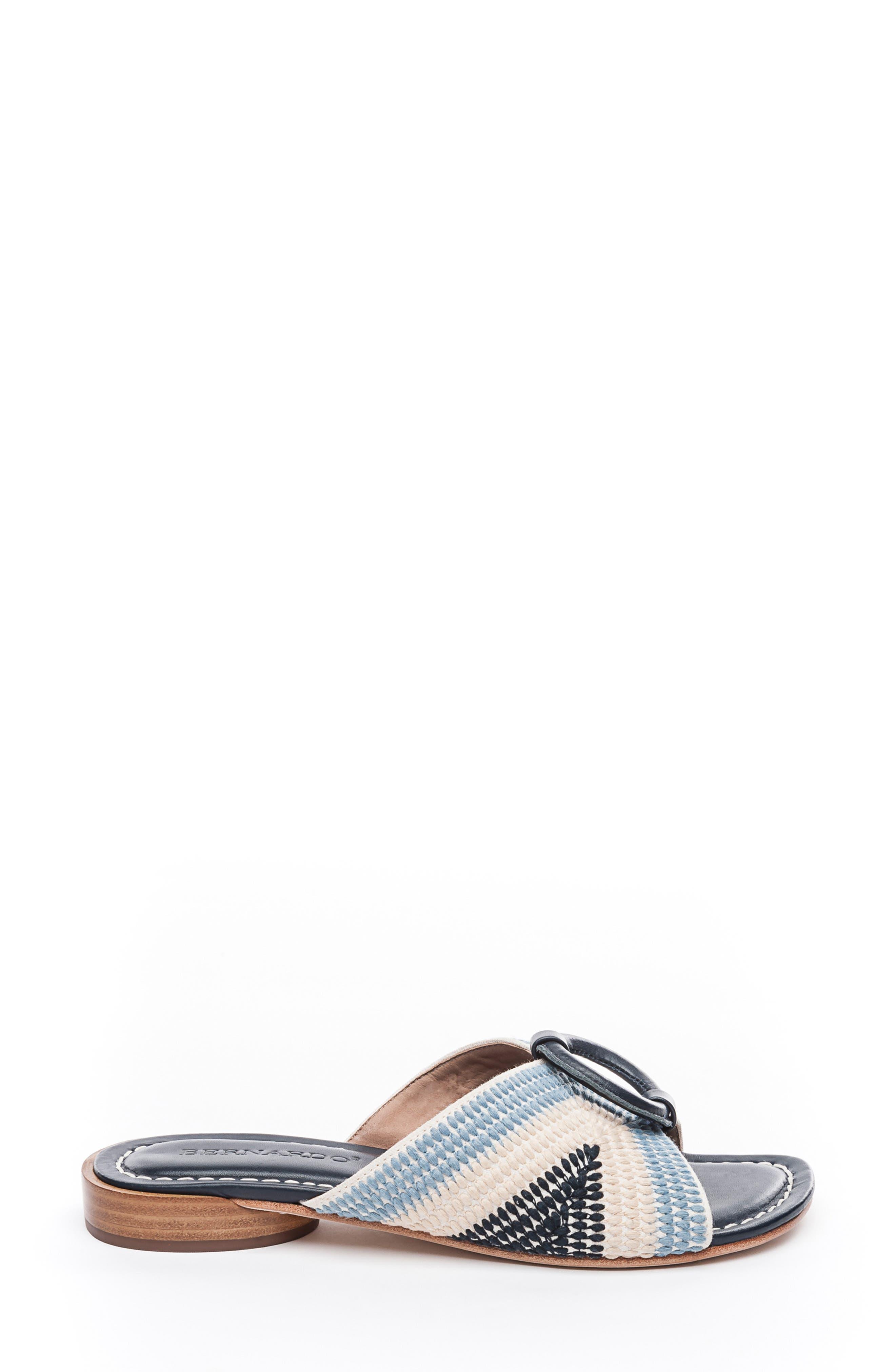 BERNARDO, Footwear Tay Slide Sandal, Alternate thumbnail 3, color, BLUE/ CREAM LEATHER