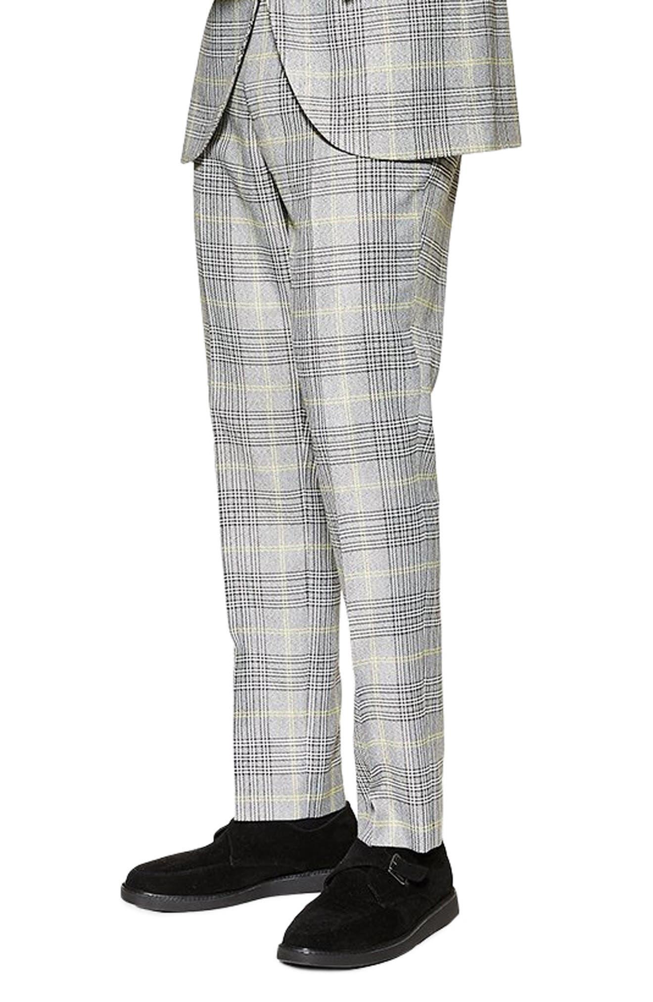TOPMAN, Check Slim Trousers, Alternate thumbnail 3, color, GREY