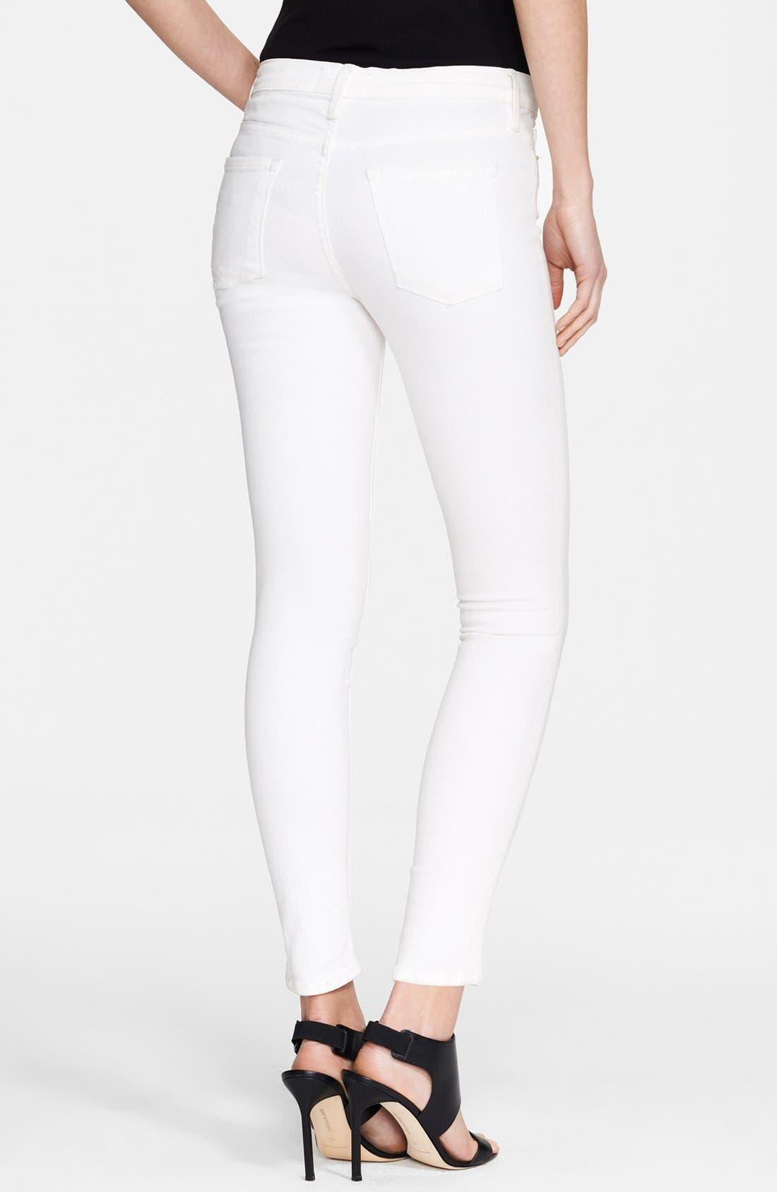 FRAME, Le Color Skinny Jeans, Alternate thumbnail 9, color, BLANC