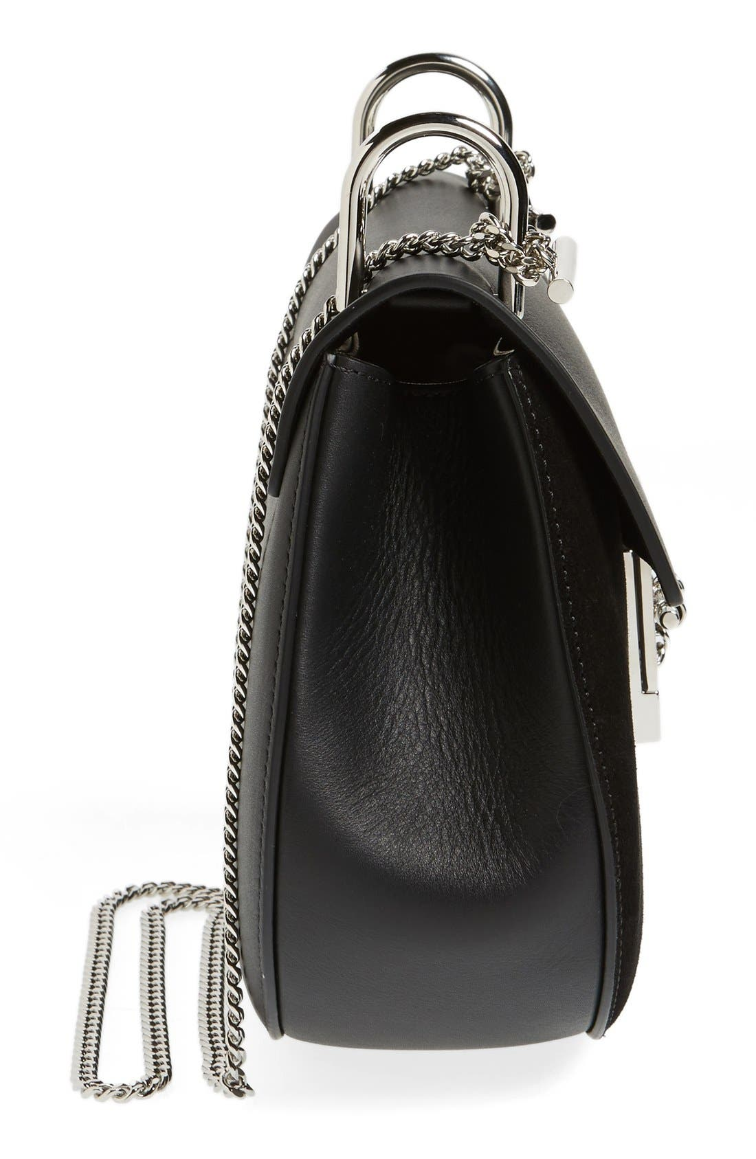 CHLOÉ, Small Drew Leather & Suede Shoulder Bag, Alternate thumbnail 3, color, 001