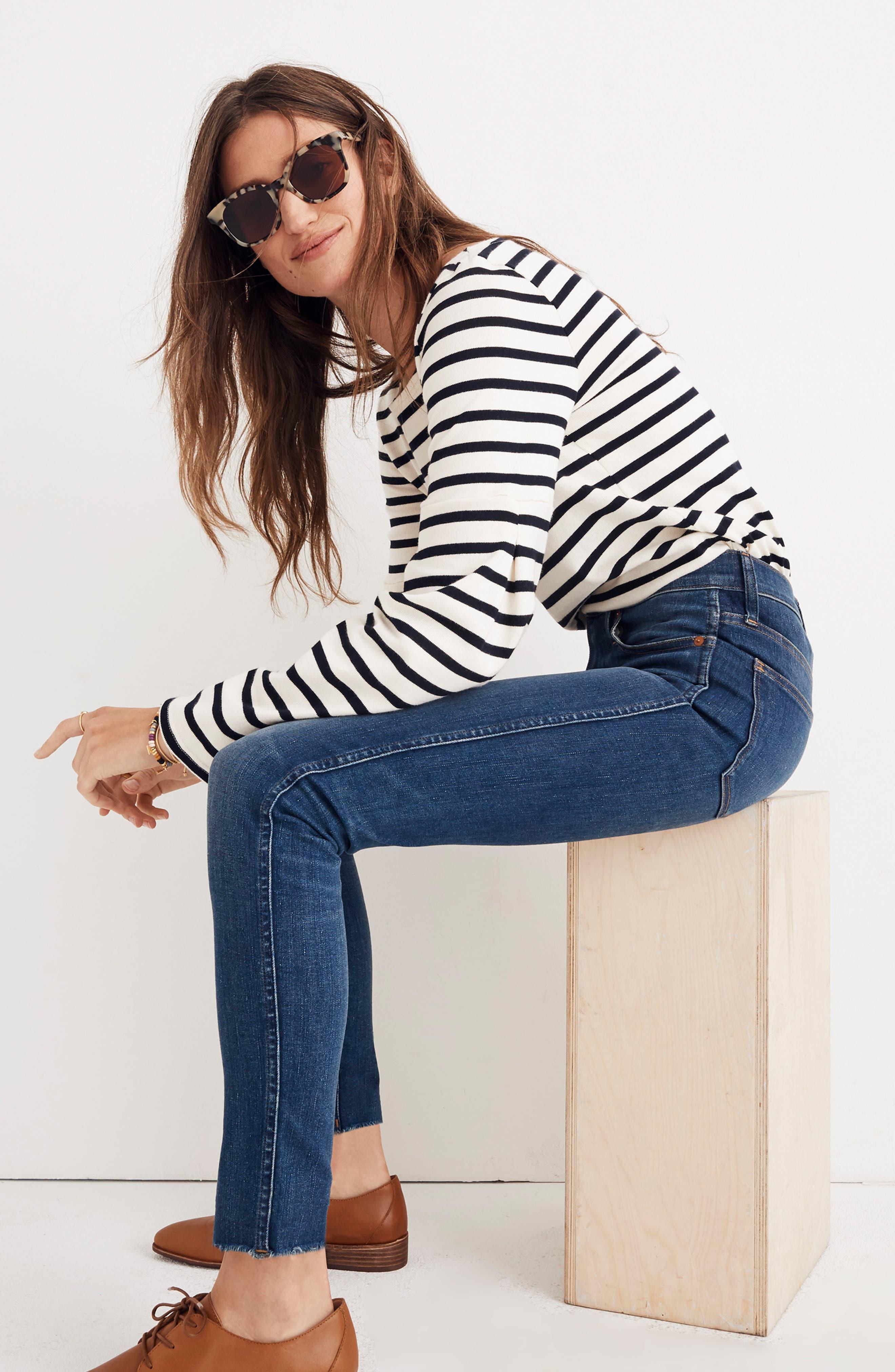 MADEWELL, 9-Inch Skinny Jeans Raw Hem Edition, Alternate thumbnail 8, color, PALOMA