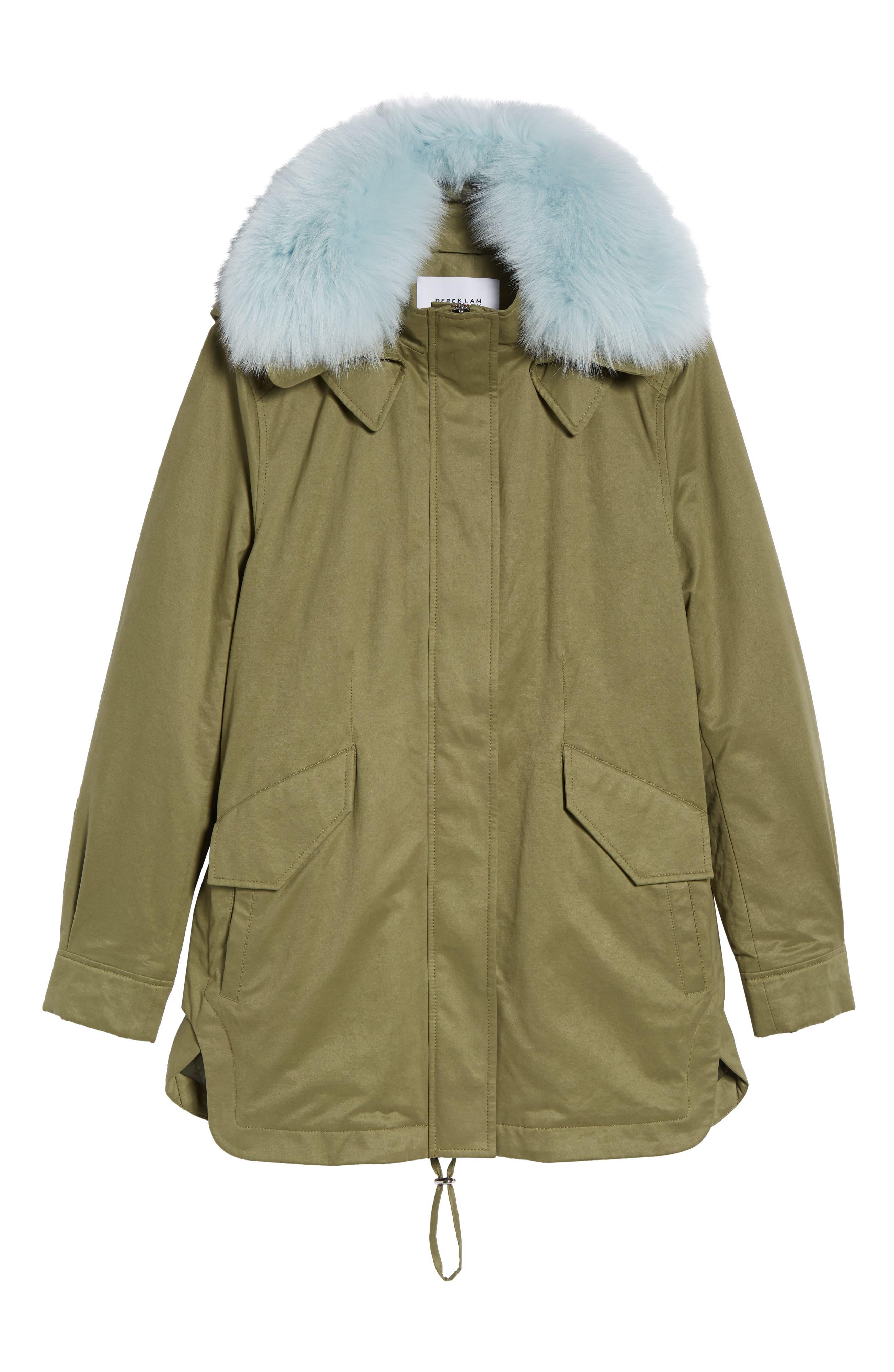 DEREK LAM 10 CROSBY, Genuine Fox Fur Trim Cotton Blend Parka, Alternate thumbnail 6, color, LODEN