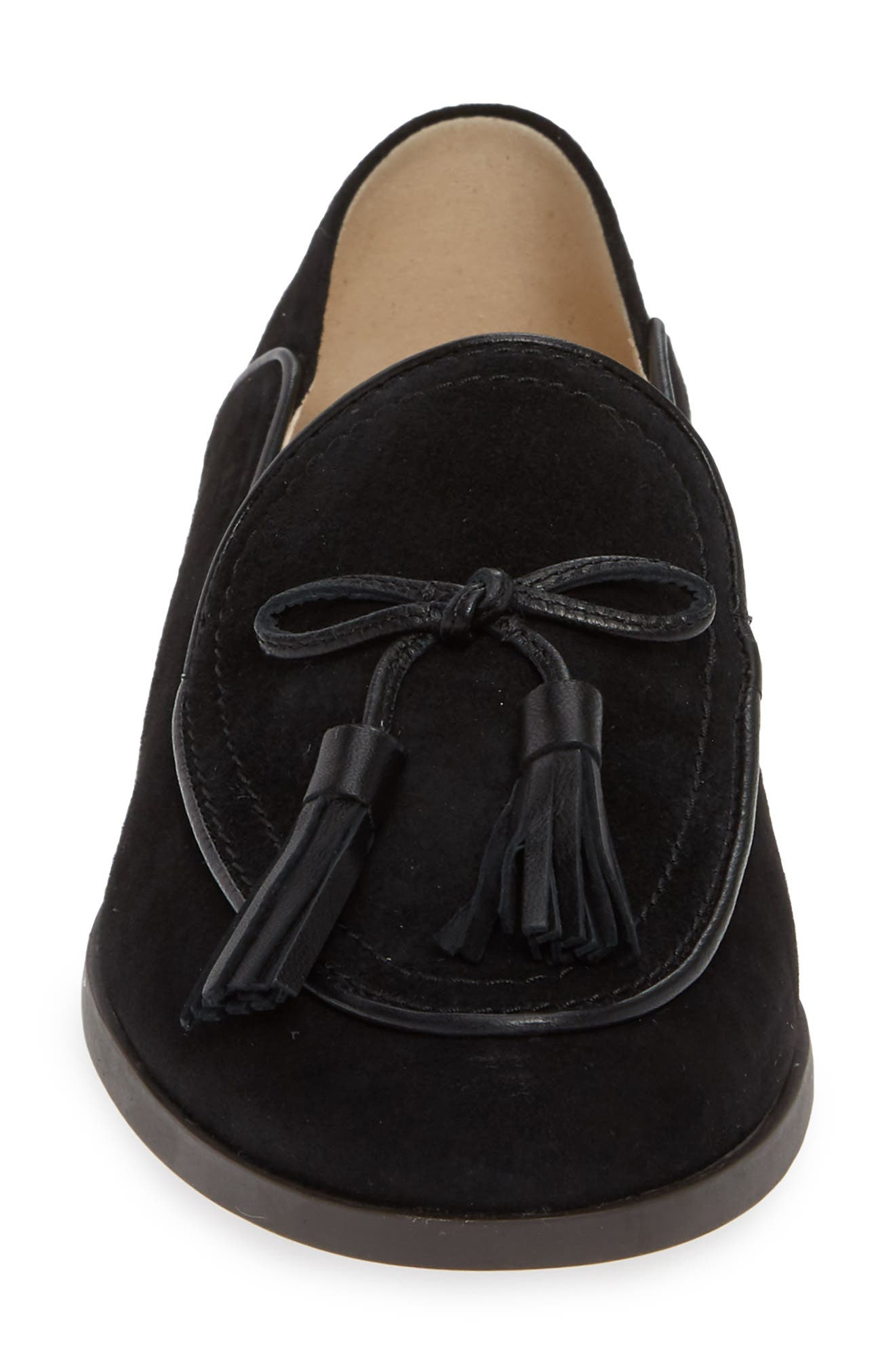 COLE HAAN, Gabrielle Loafer, Alternate thumbnail 4, color, BLACK SUEDE