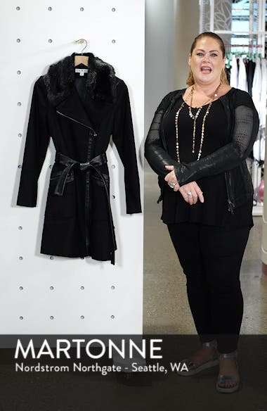 Faux Fur Trim Belted Jacket, sales video thumbnail