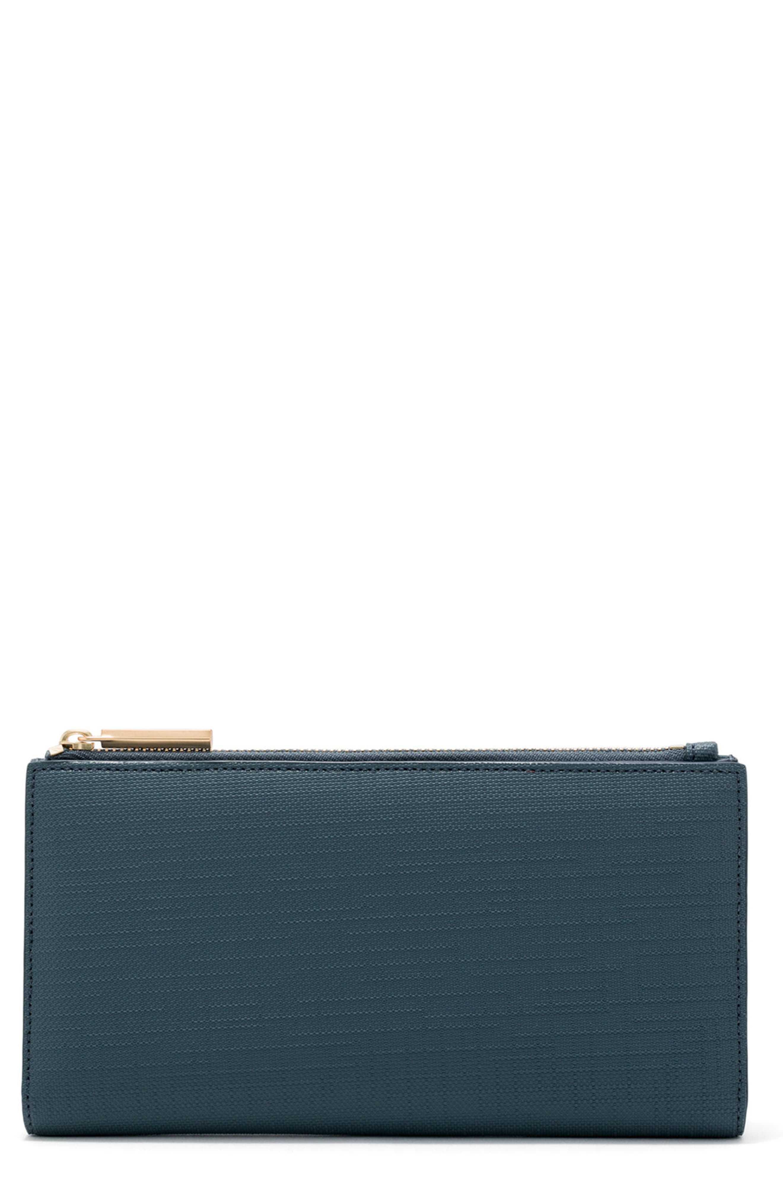 DAGNE DOVER, Signature Slim Coated Canvas Wallet, Main thumbnail 1, color, BLEECKER BLUSH