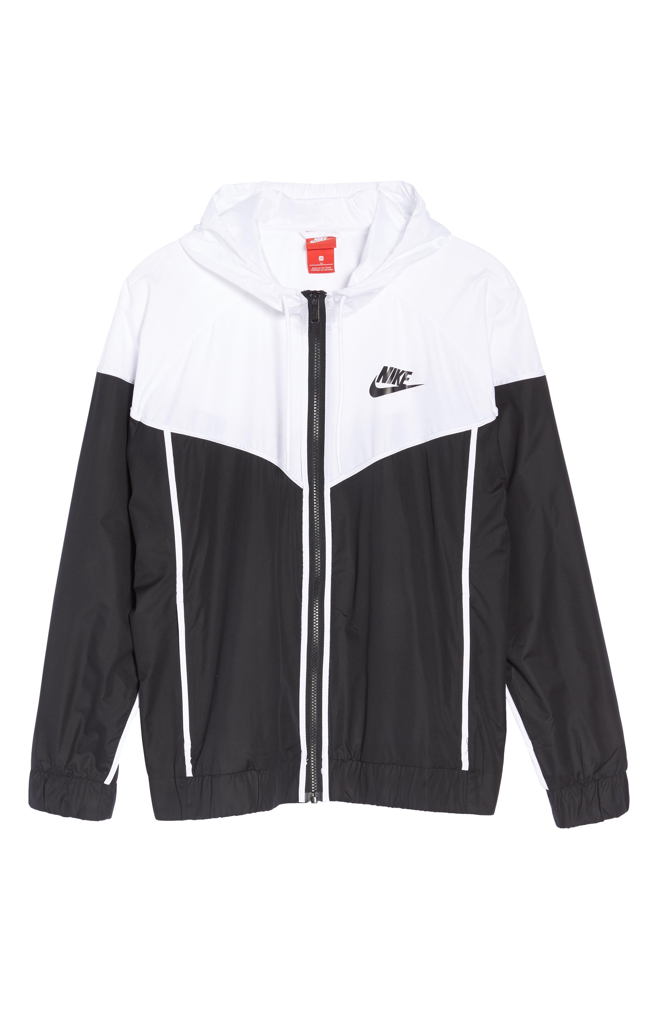 NIKE, Sportswear Windrunner Jacket, Alternate thumbnail 6, color, BLACK/ WHITE/ BLACK