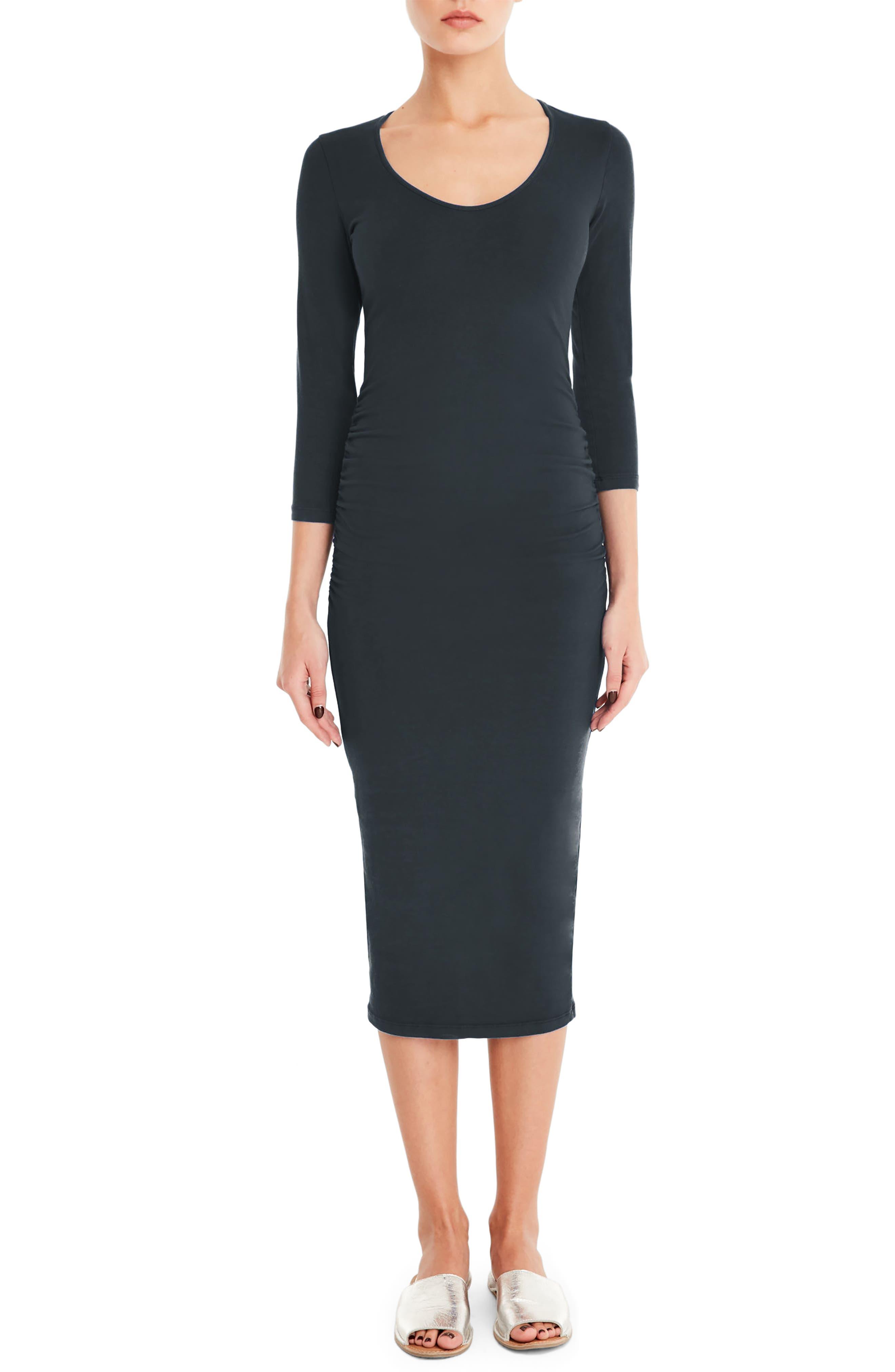 MICHAEL STARS, Ruched Midi Dress, Main thumbnail 1, color, OXIDE