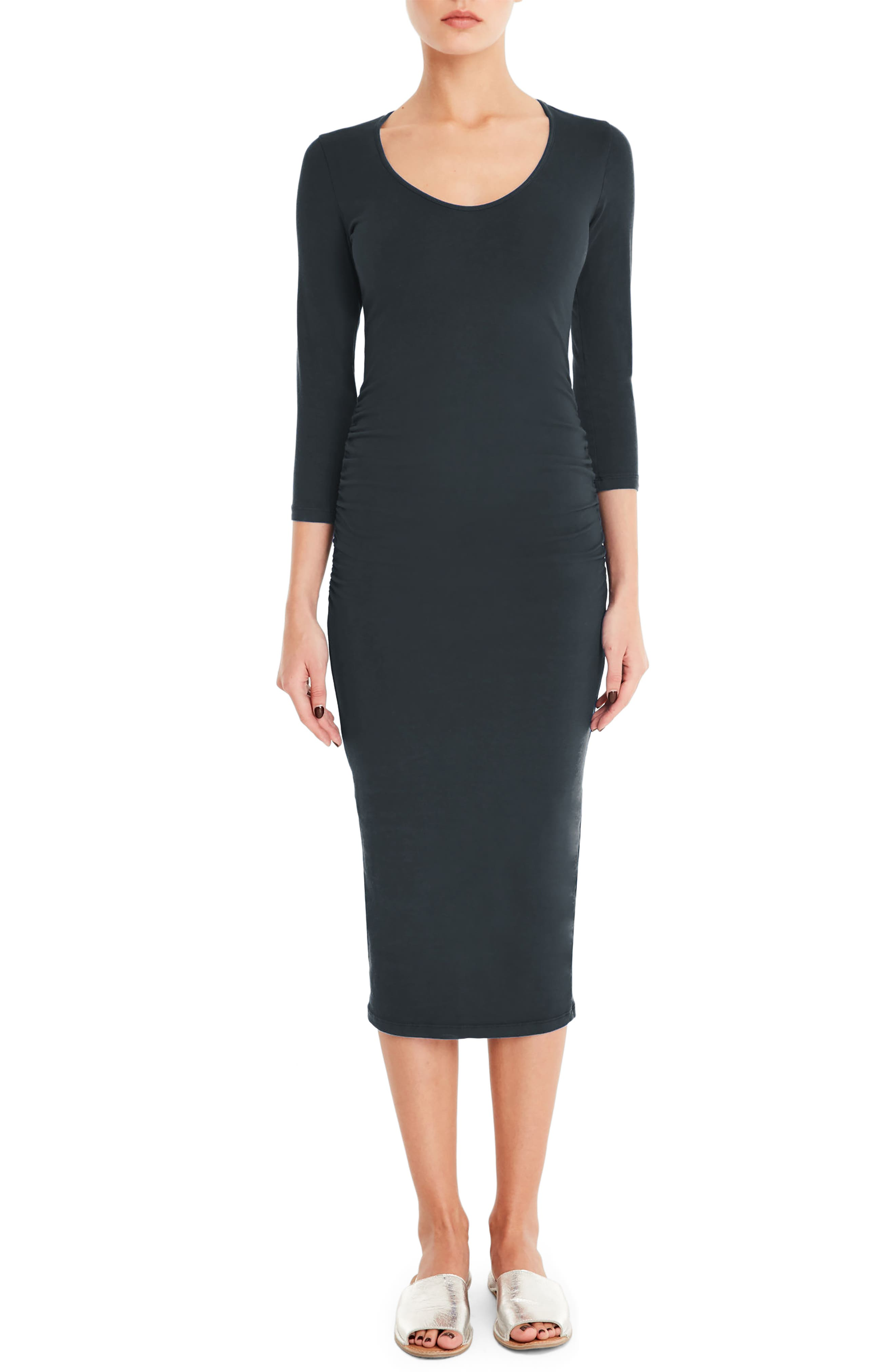 MICHAEL STARS Ruched Midi Dress, Main, color, OXIDE