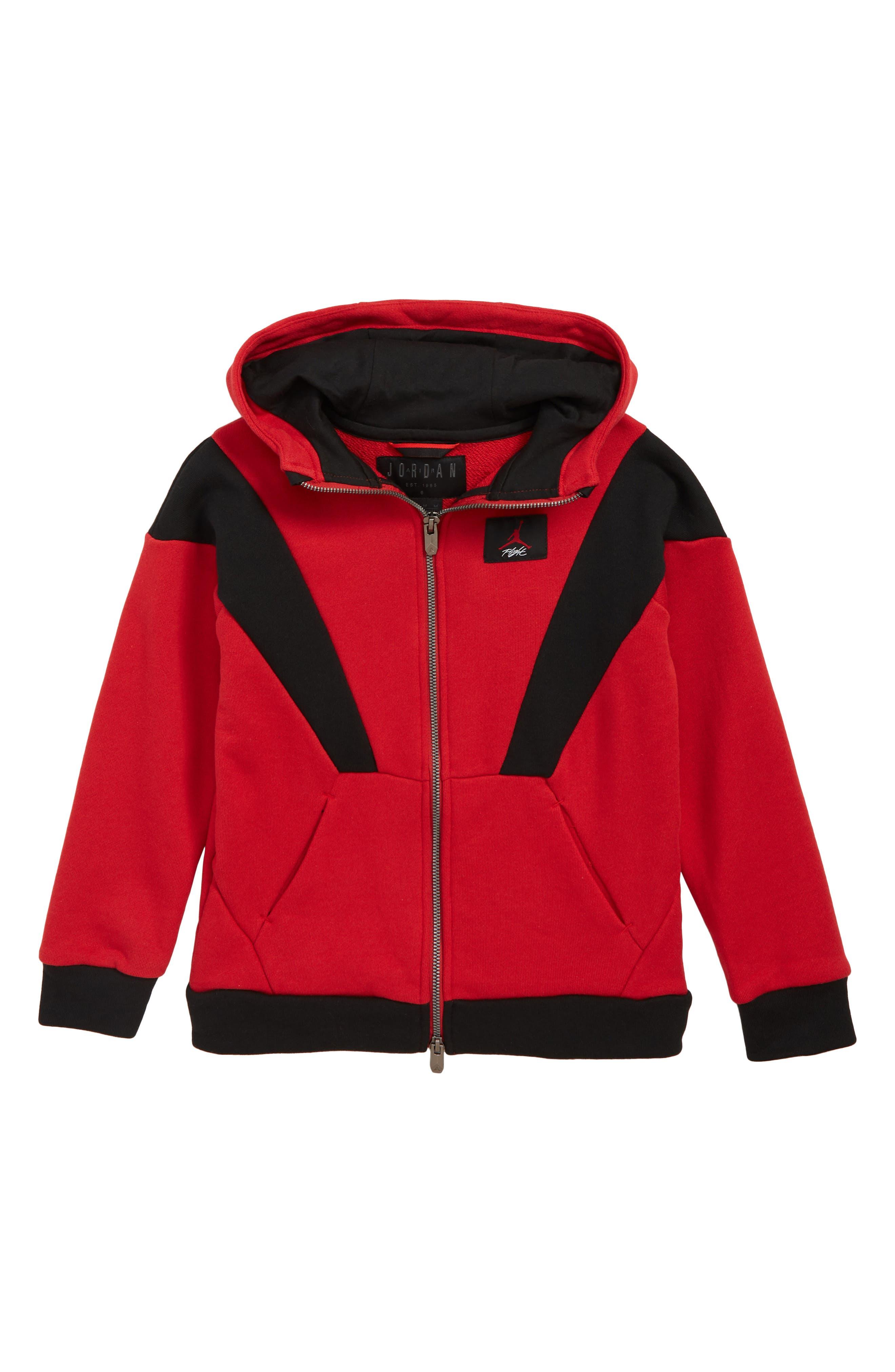 JORDAN Flight 5 Hooded Sweatshirt, Main, color, GYM RED