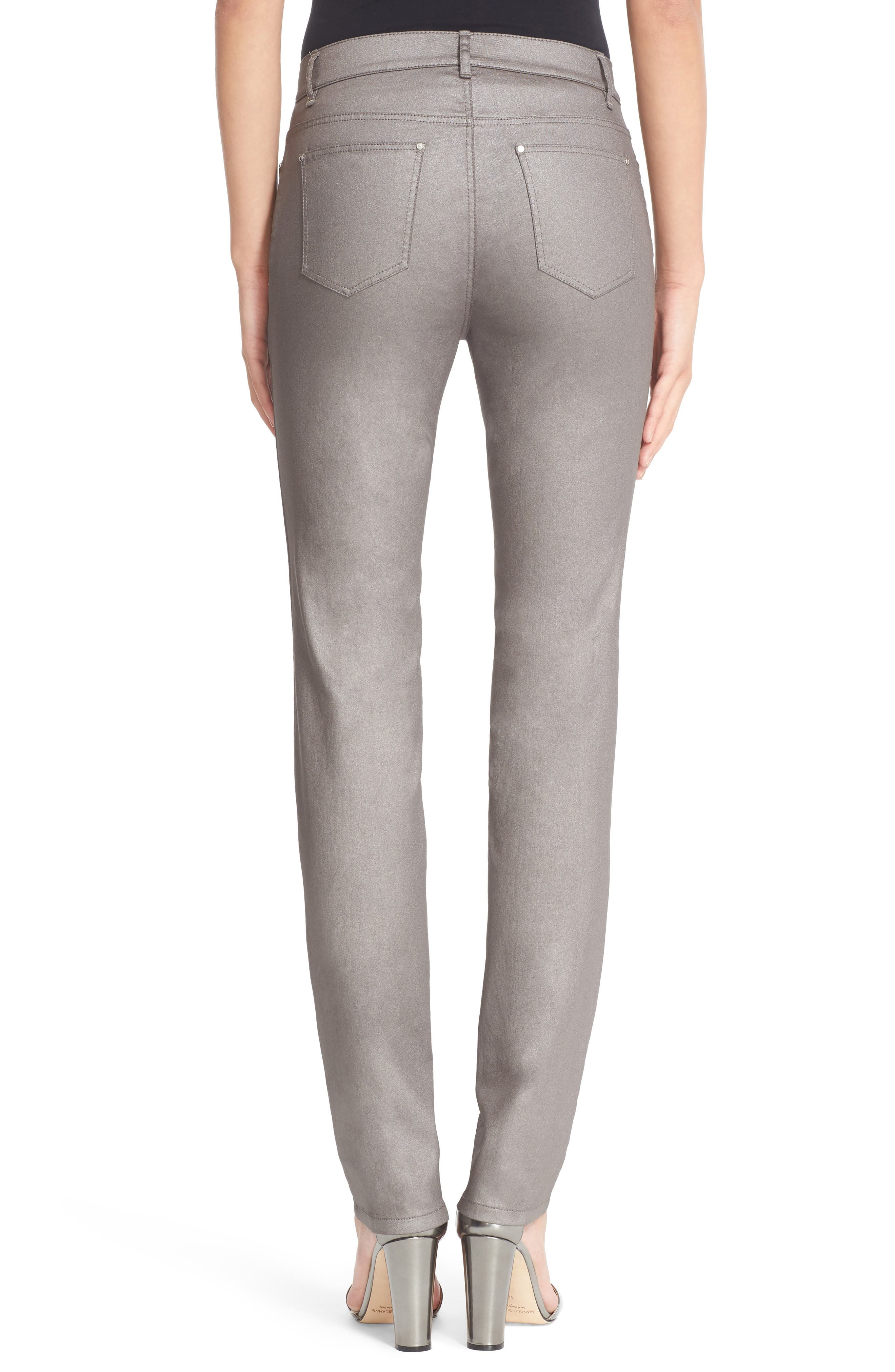 LAFAYETTE 148 NEW YORK, Curvy Fit Skinny Jeans, Alternate thumbnail 2, color, SILVER