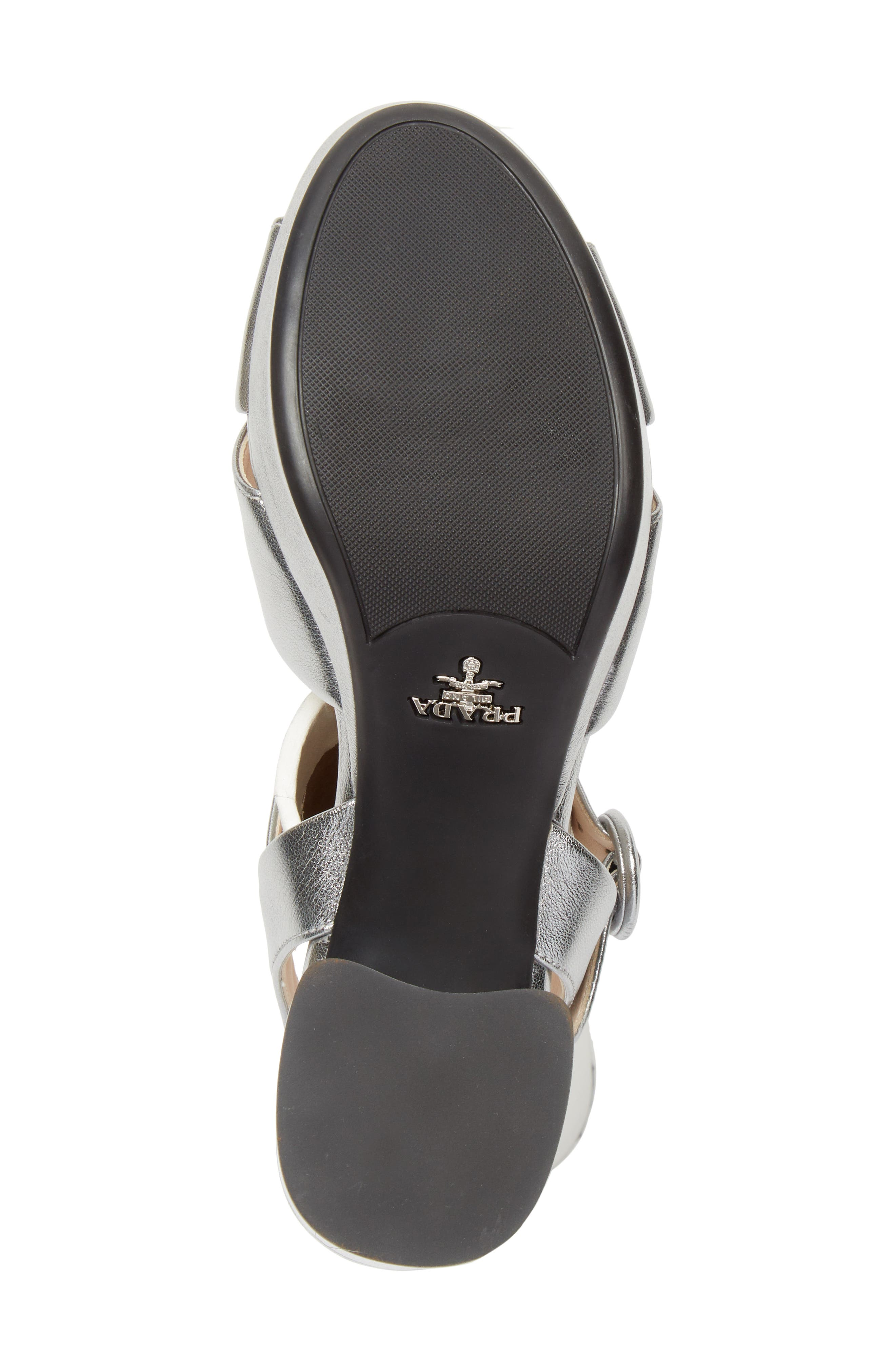 PRADA, Quarter Strap Platform Sandal, Alternate thumbnail 6, color, SILVER