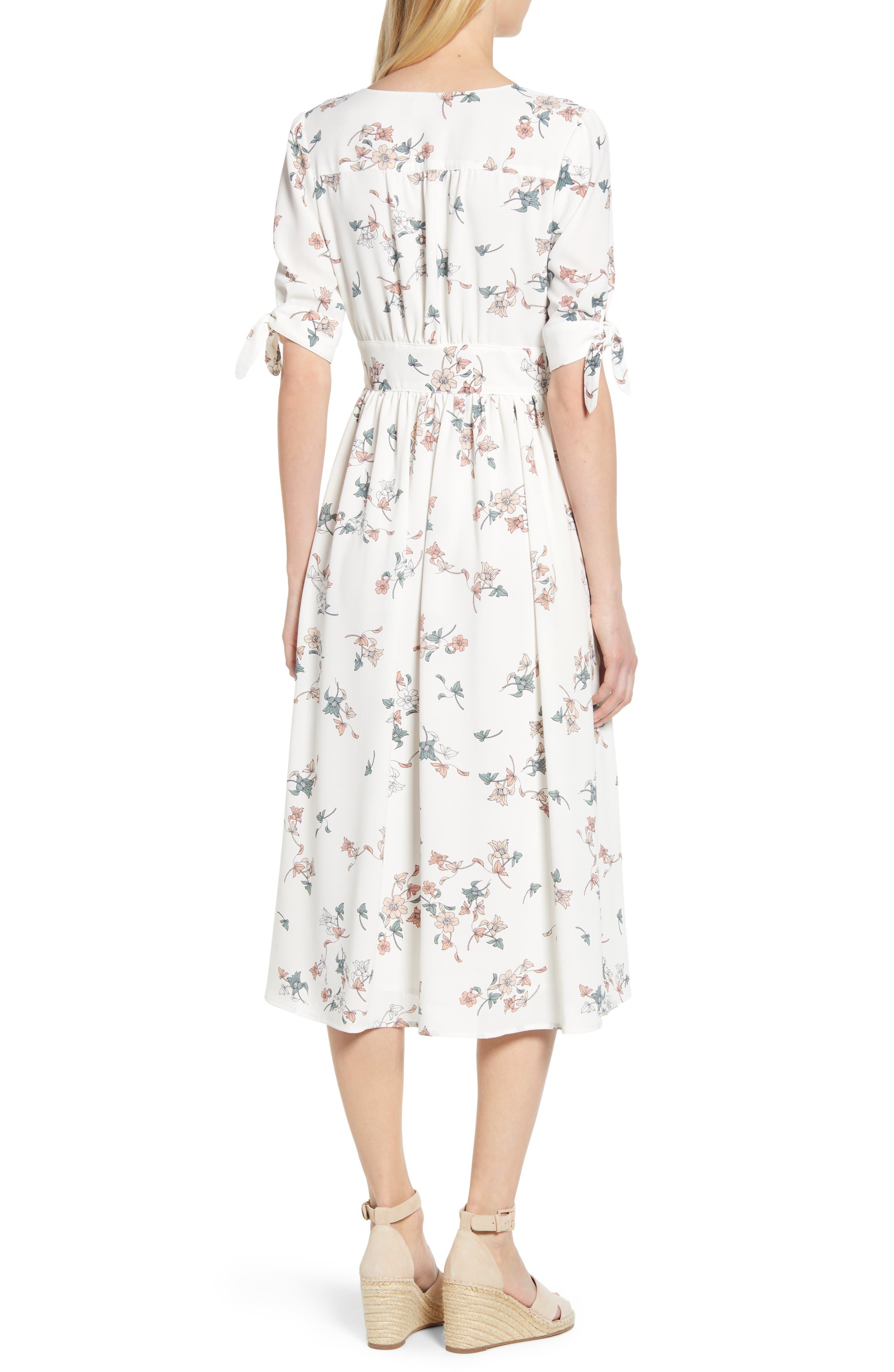 1.STATE, Floral Belle Tie Sleeve Midi Dress, Alternate thumbnail 2, color, 100