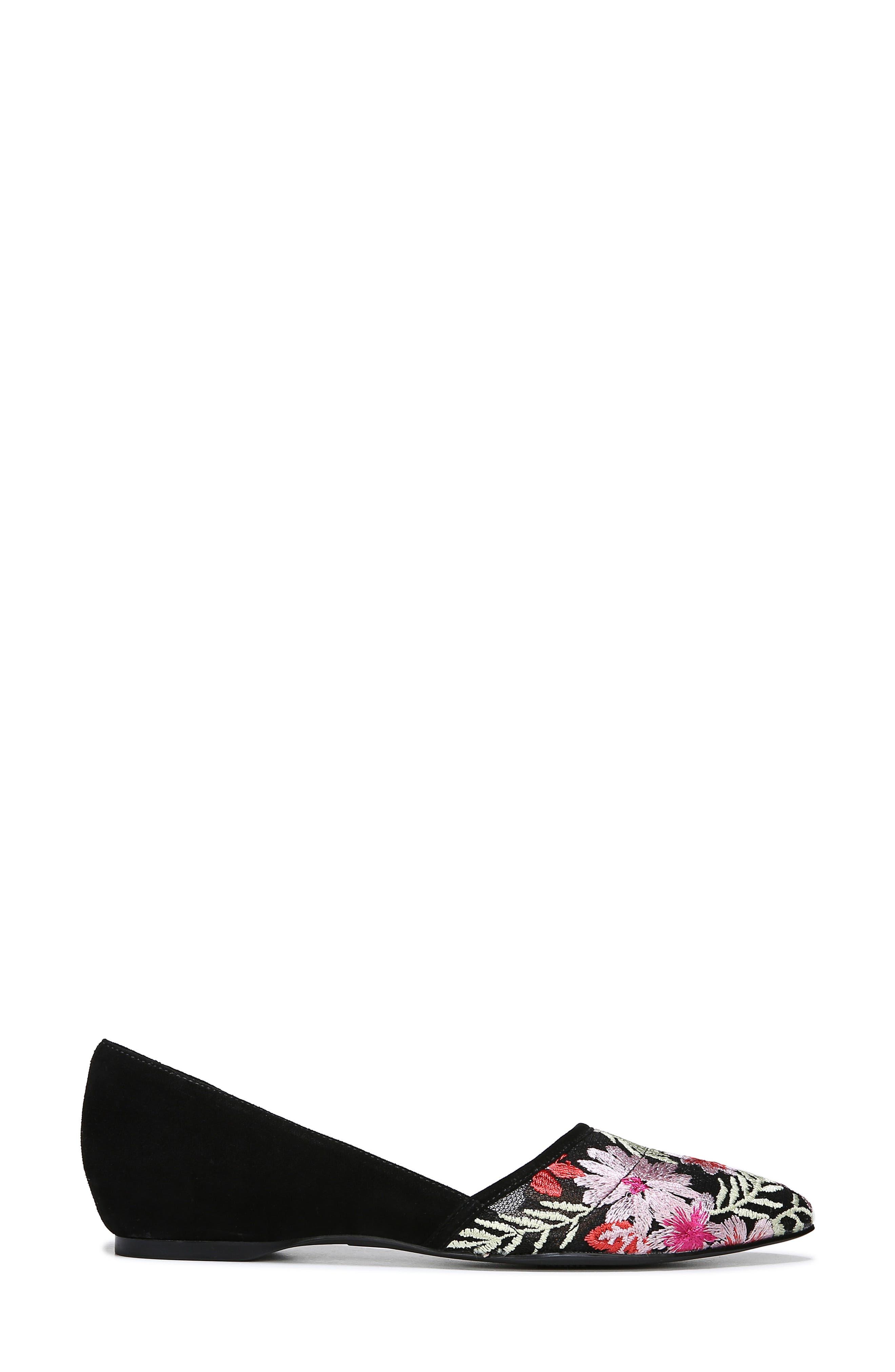 NATURALIZER, Samantha Half d'Orsay Flat, Alternate thumbnail 3, color, BLACK FLORAL SUEDE