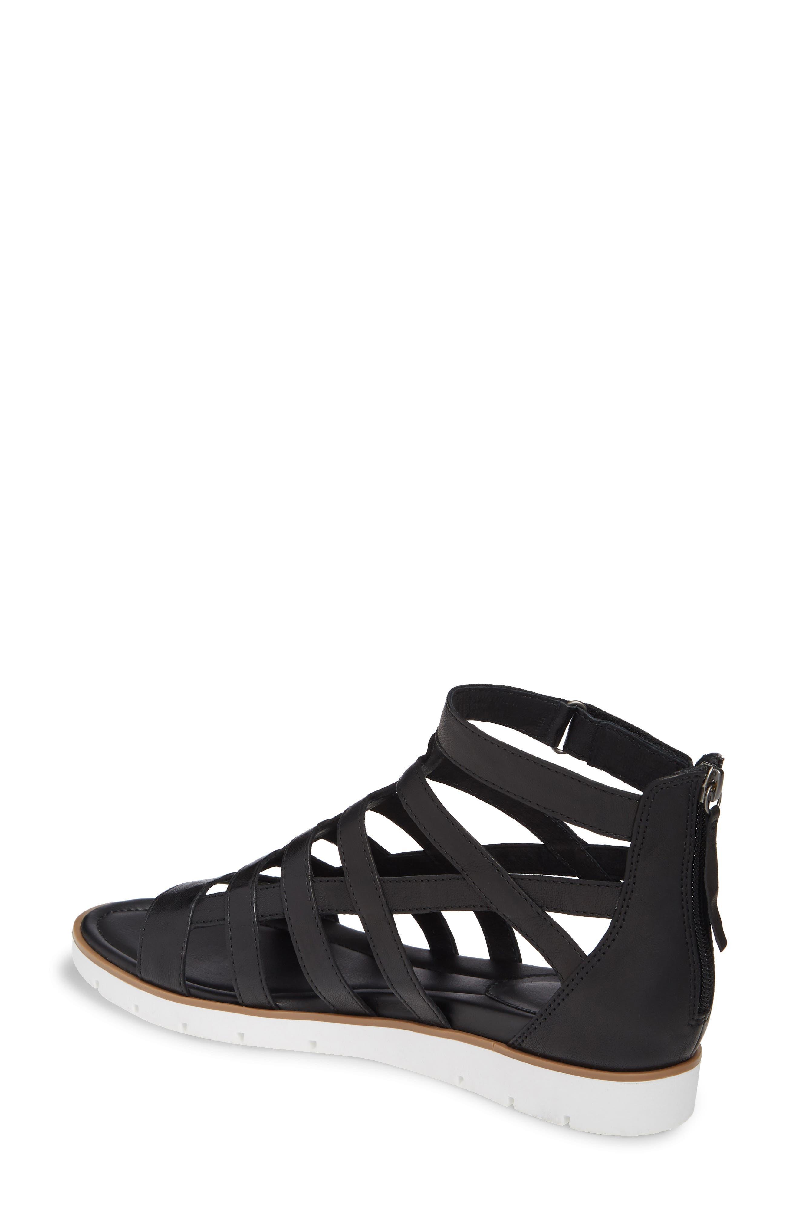 SÖFFT, Mahari Gladiator Sandal, Alternate thumbnail 2, color, BLACK LEATHER