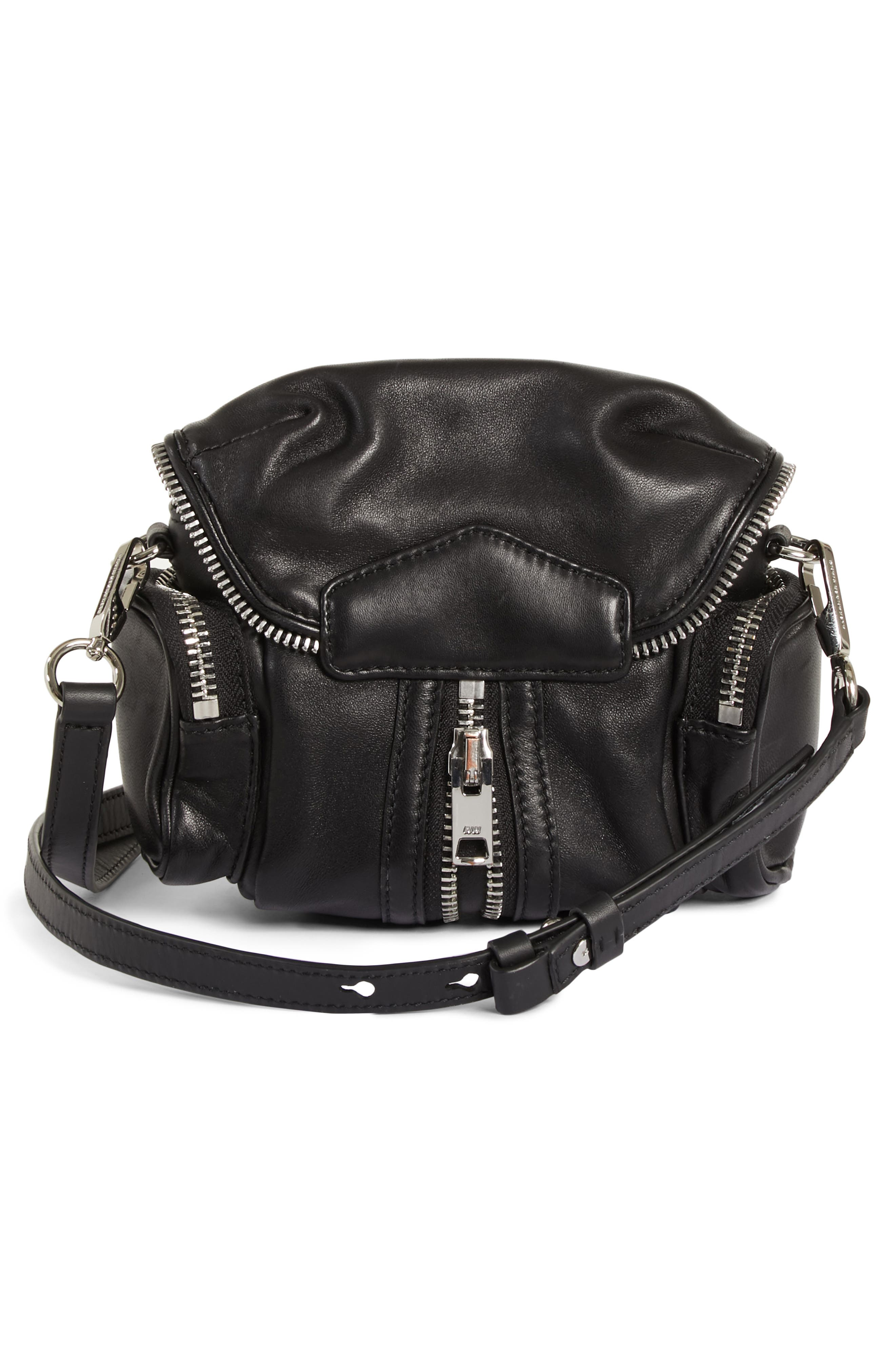 ALEXANDER WANG, Mini Marti Leather Crossbody Bag, Alternate thumbnail 3, color, BLACK