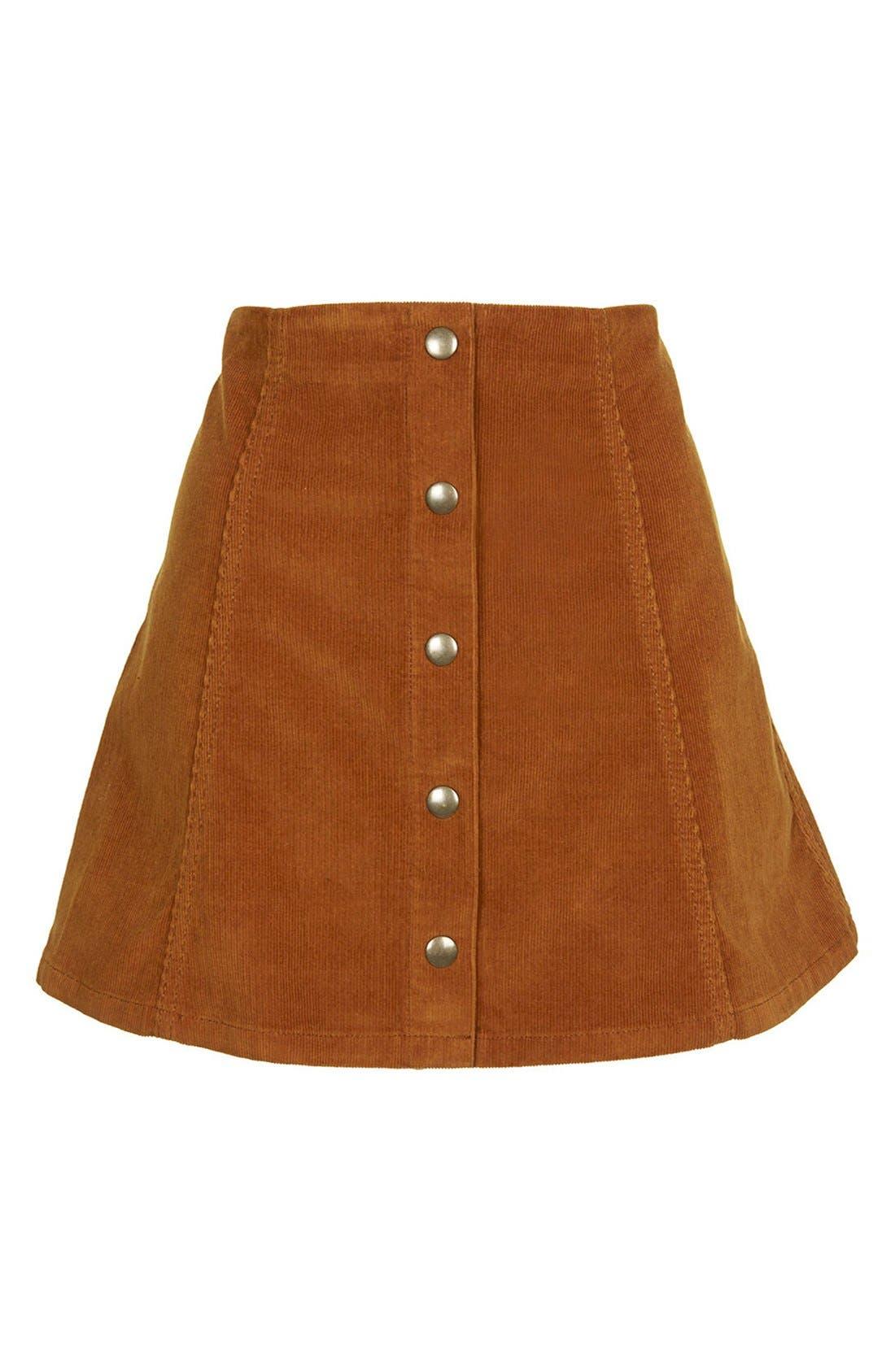 TOPSHOP, A-Line Corduroy Skirt, Alternate thumbnail 4, color, 210