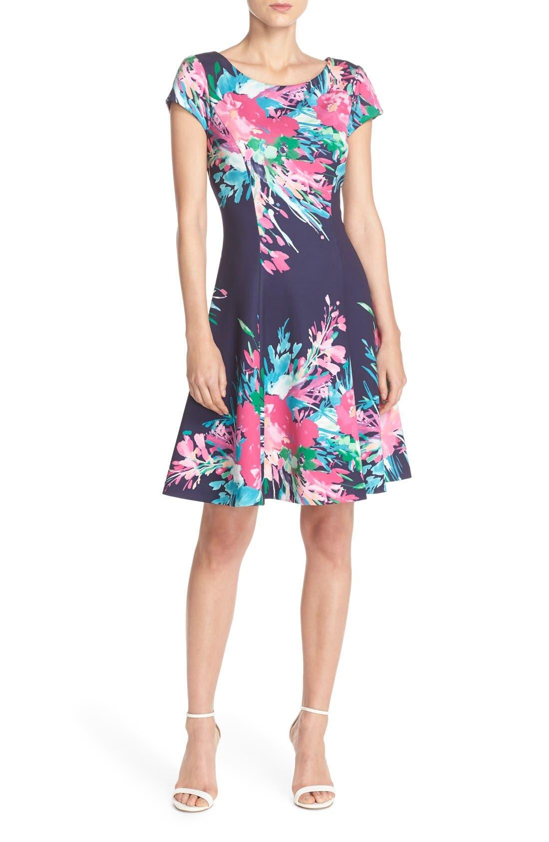 ELIZA J, Floral Print Scuba Fit & Flare Dress, Alternate thumbnail 5, color, 470