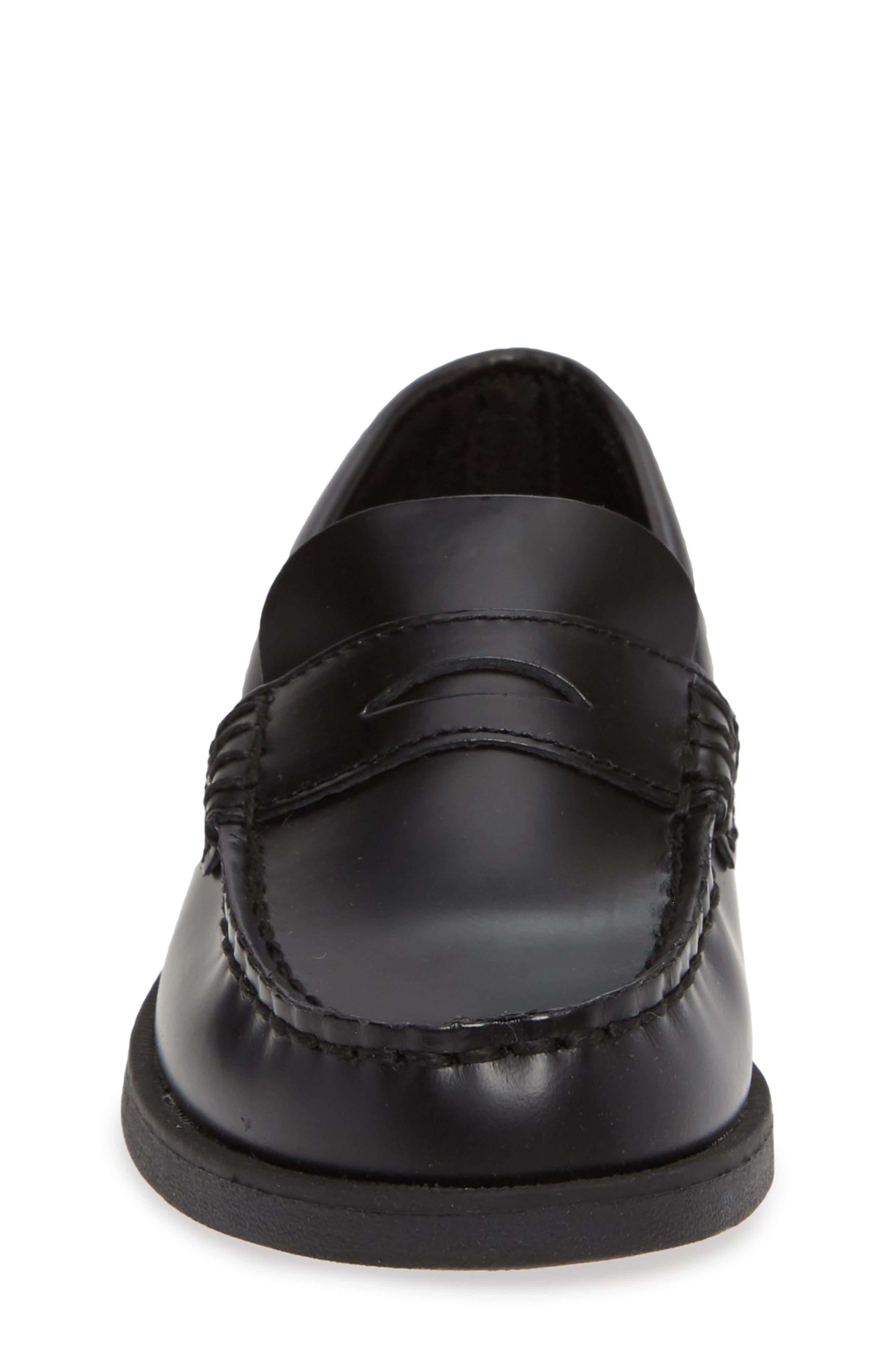 SPERRY KIDS, 'Colton' Loafer, Alternate thumbnail 5, color, BLACK LEATHER