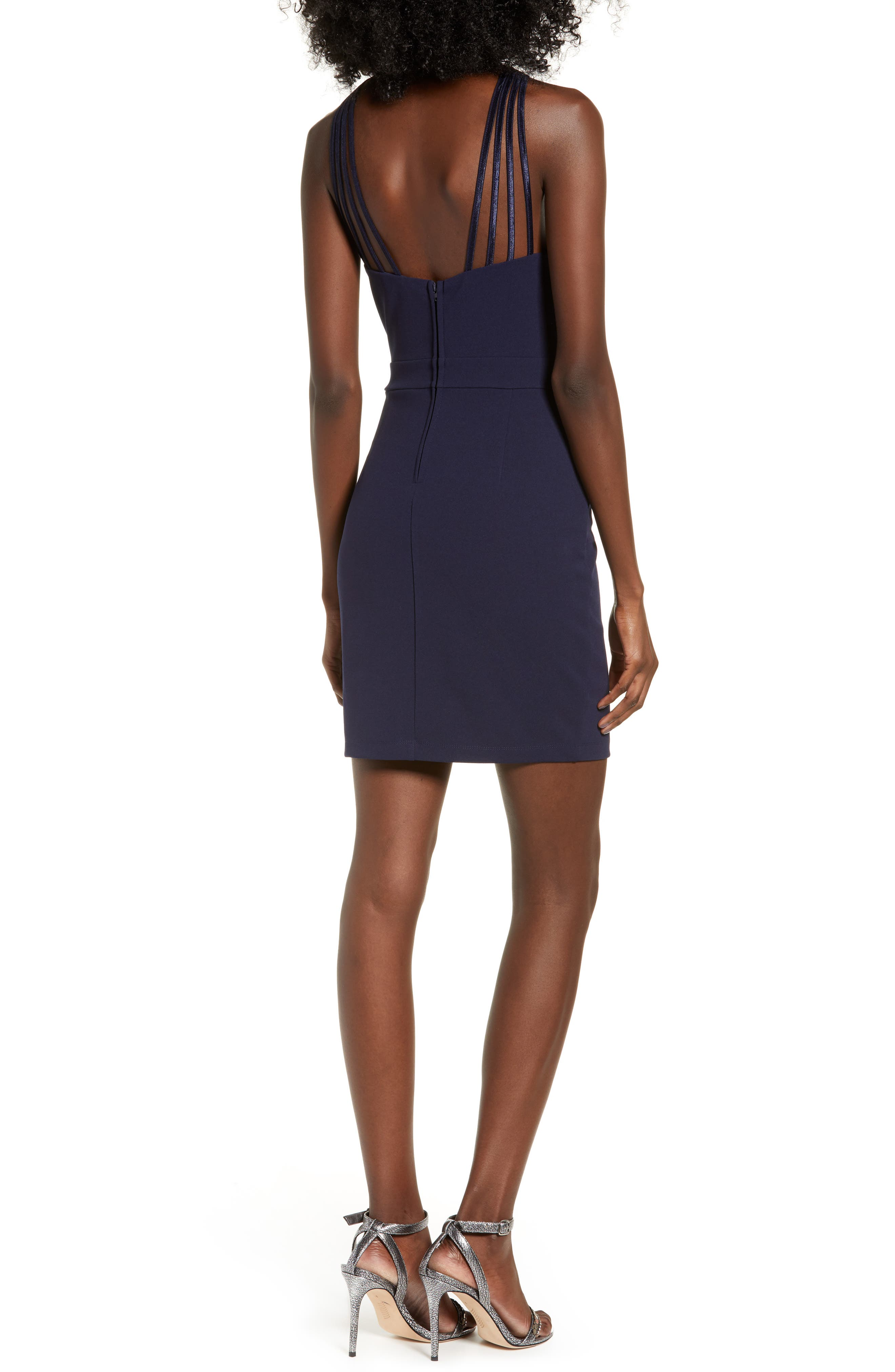 LOVE, NICKIE LEW, Lattice Strap Body-Con Dress, Alternate thumbnail 2, color, 400