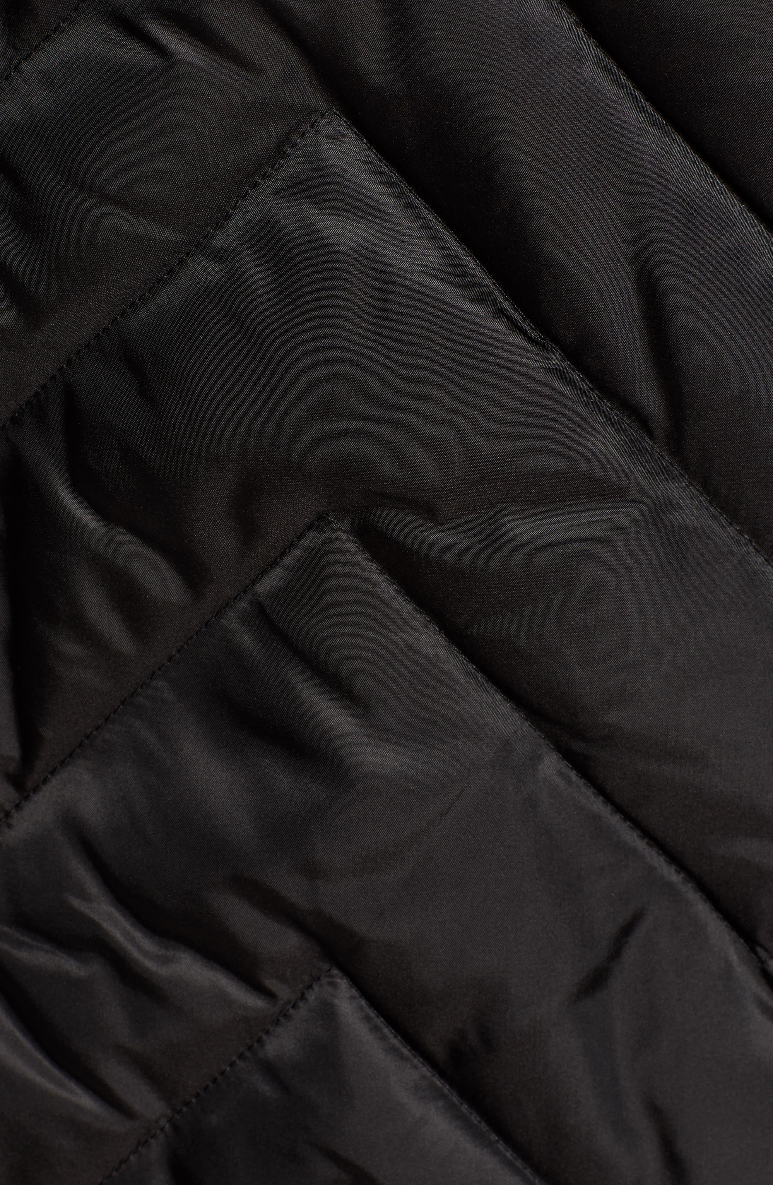 MARC NEW YORK, Matte Satin Chevron Faux Fur Trim Coat, Alternate thumbnail 7, color, BLACK