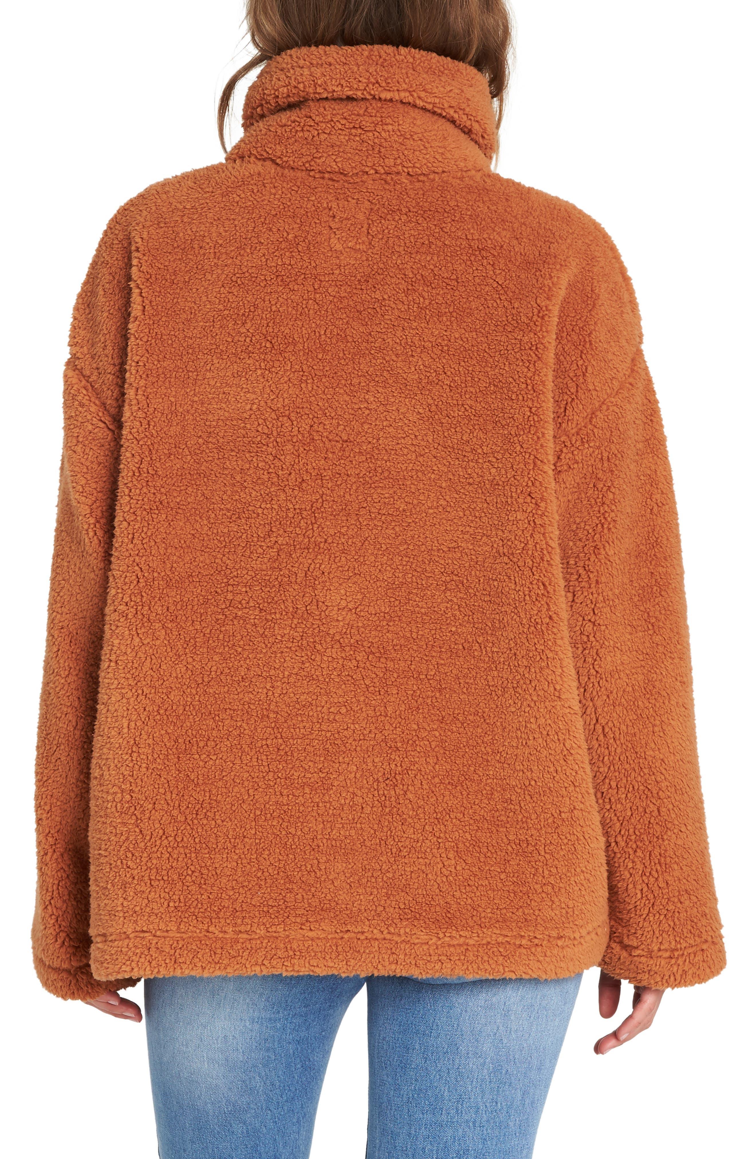 BILLABONG, Cozy Days Faux Fur Jacket, Alternate thumbnail 2, color, TOFFEE