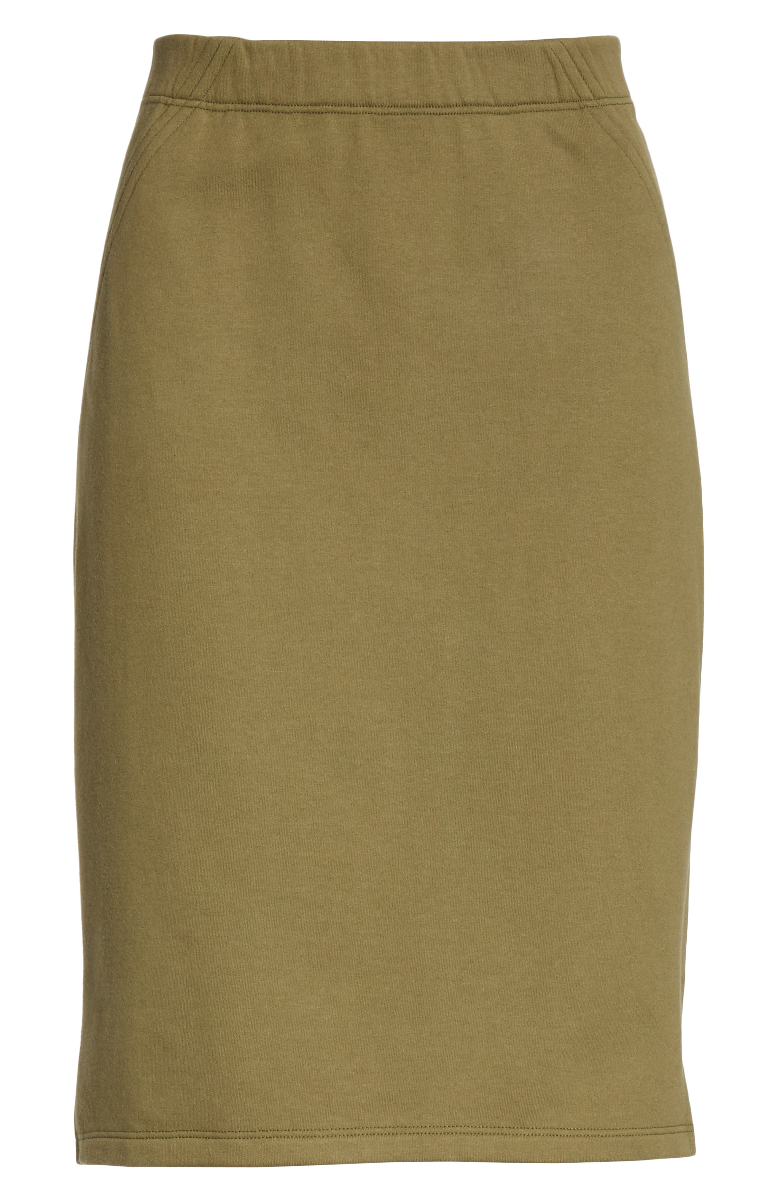 EILEEN FISHER, Organic Cotton Pencil Skirt, Alternate thumbnail 6, color, OLIVE