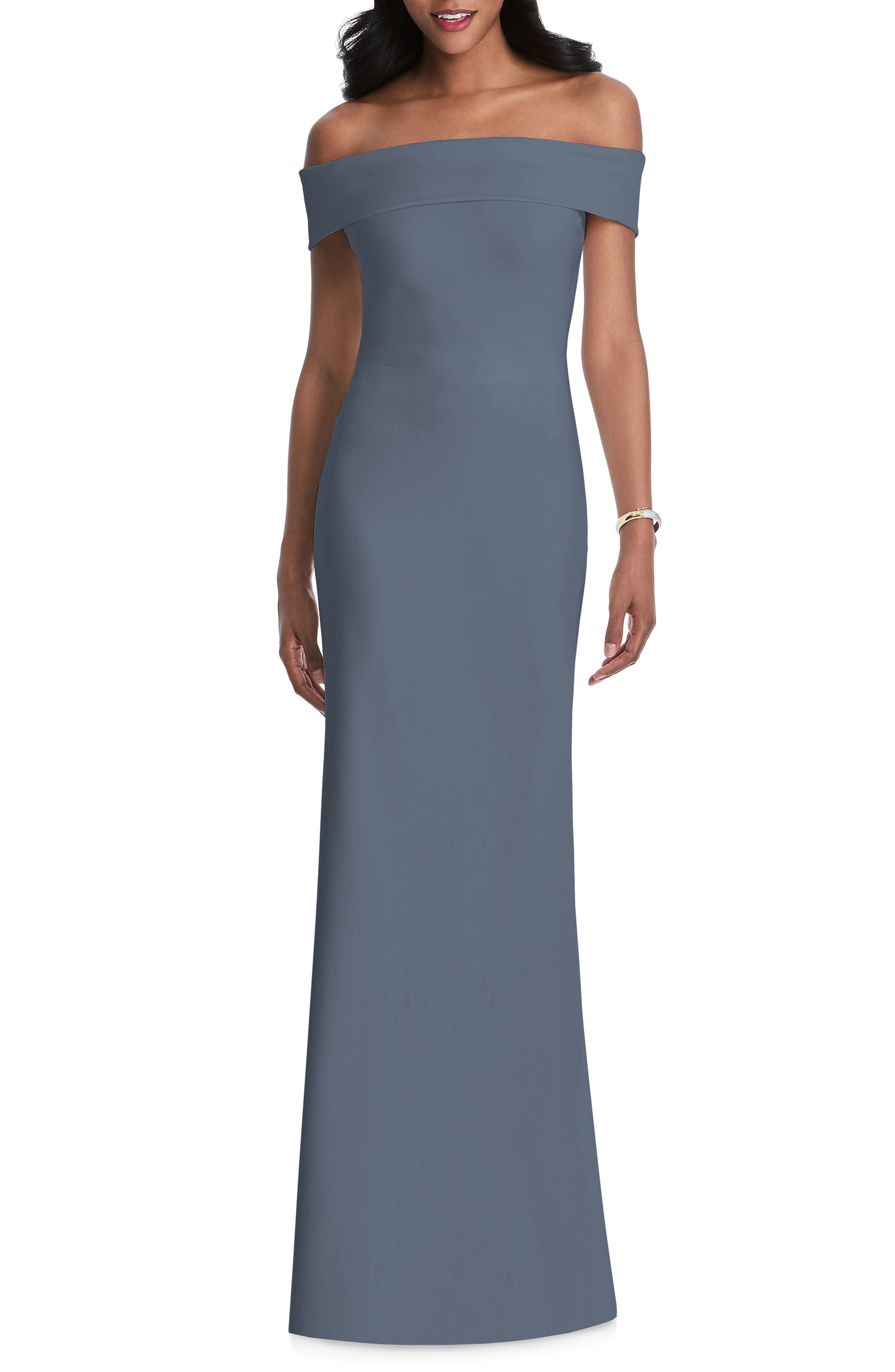 AFTER SIX, Off the Shoulder Stretch Crepe Gown, Main thumbnail 1, color, SILVERSTONE