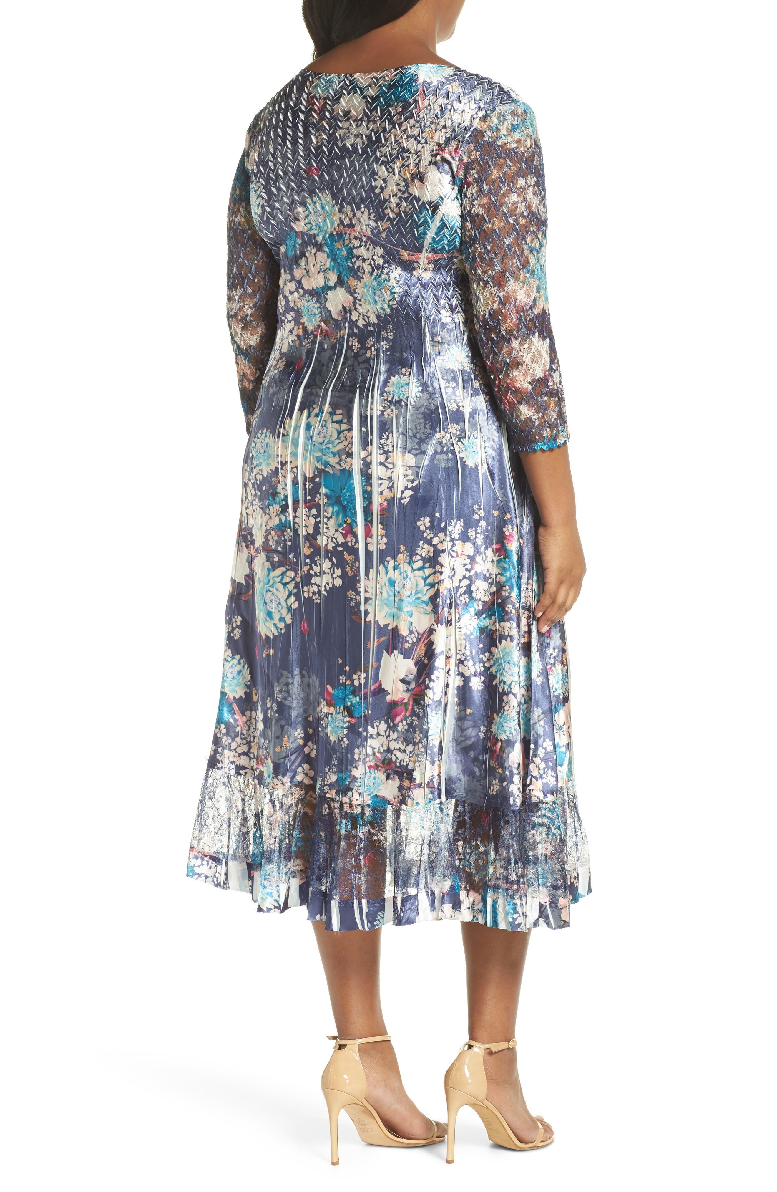 KOMAROV, Print Charmeuse & Chiffon A-Line Dress, Alternate thumbnail 2, color, CELESTIAL MEADOW