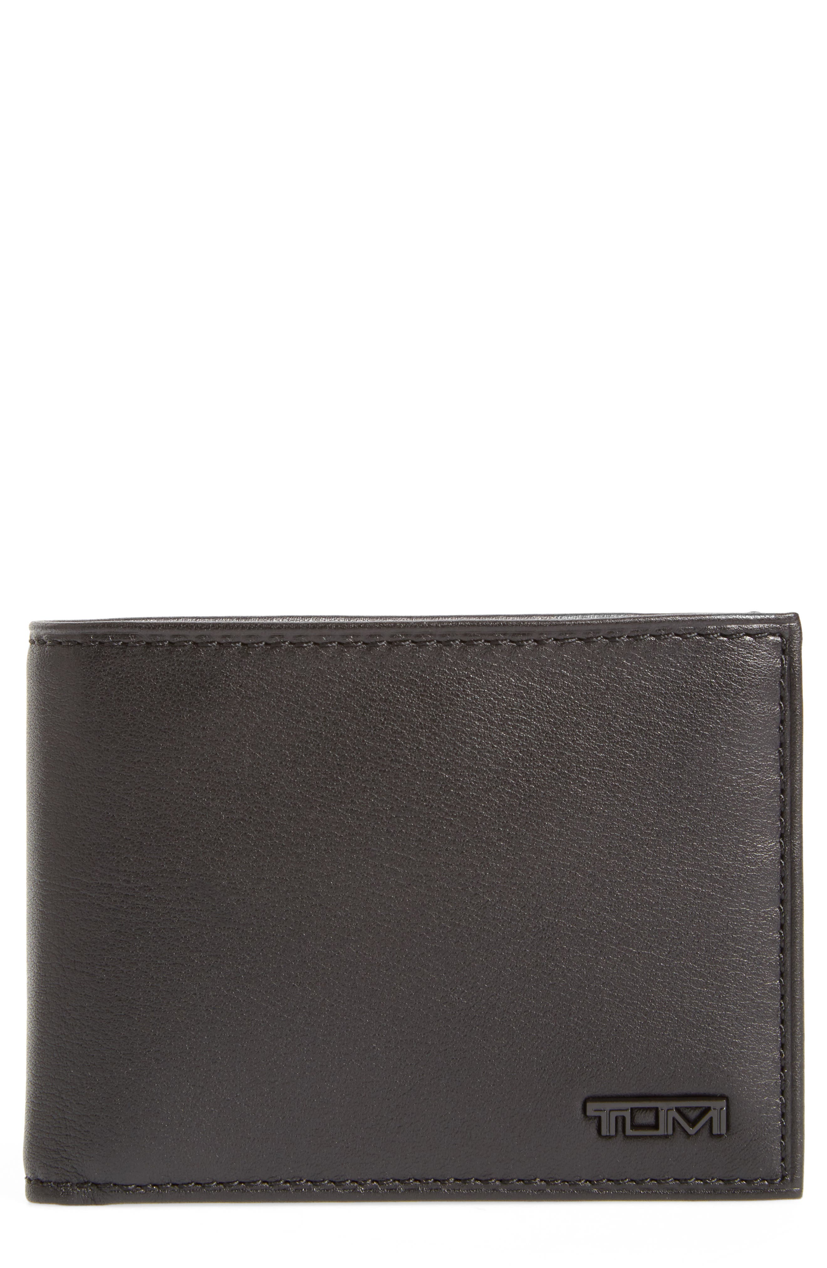 TUMI, Delta Double ID Lock<sup>™</sup> Shielded Leather Wallet, Main thumbnail 1, color, BLACK