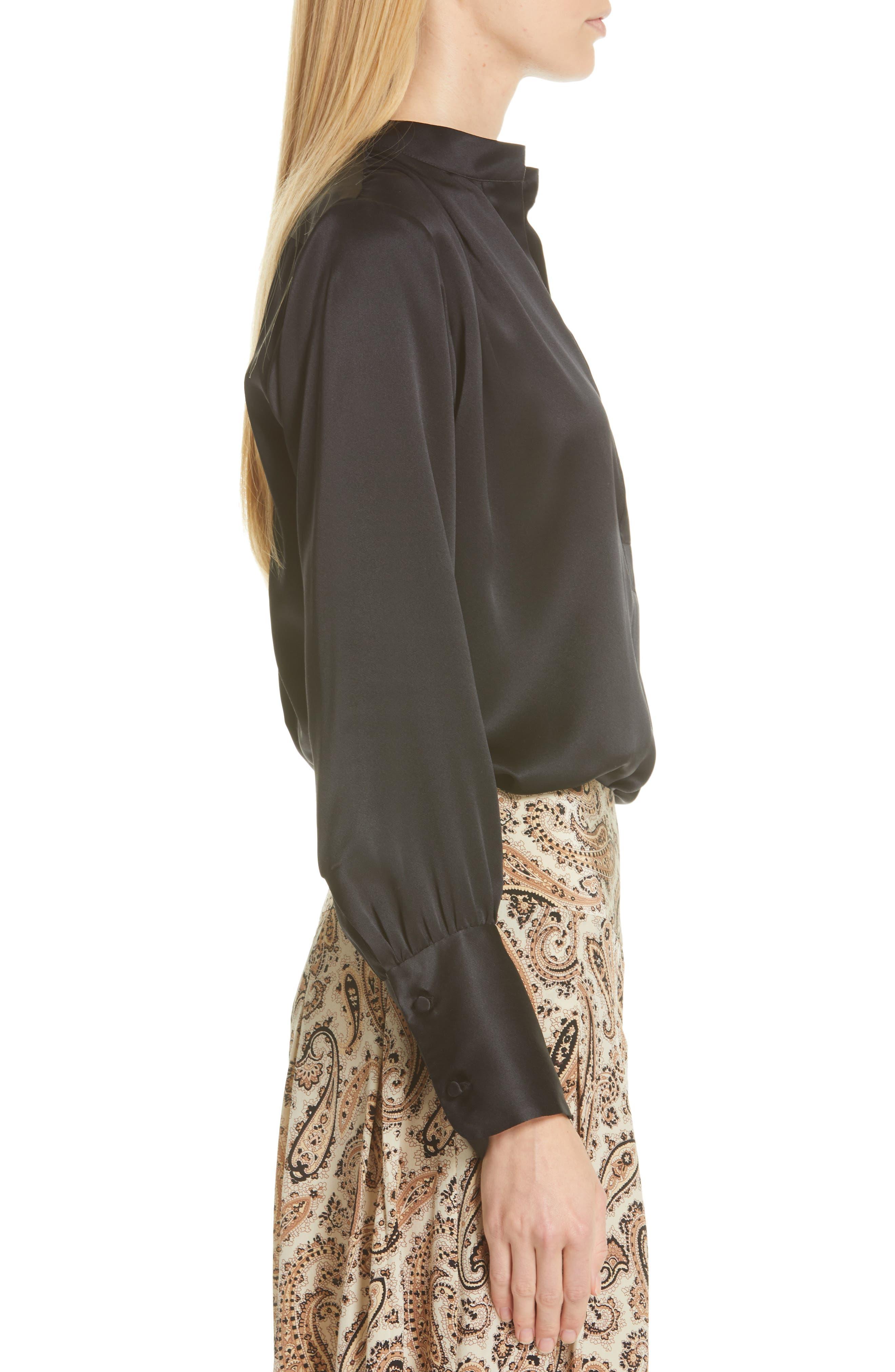 NILI LOTAN, Colette Silk Blouse, Alternate thumbnail 3, color, BLACK