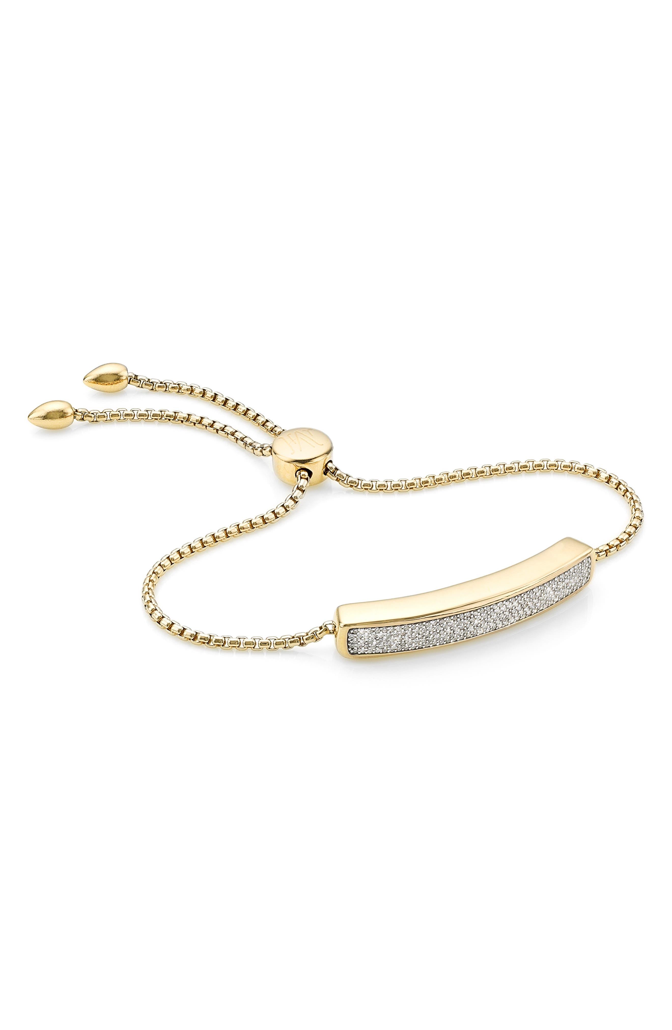MONICA VINADER, Engravable Baja Diamond Bracelet, Main thumbnail 1, color, YELLOW GOLD/ DIAMOND