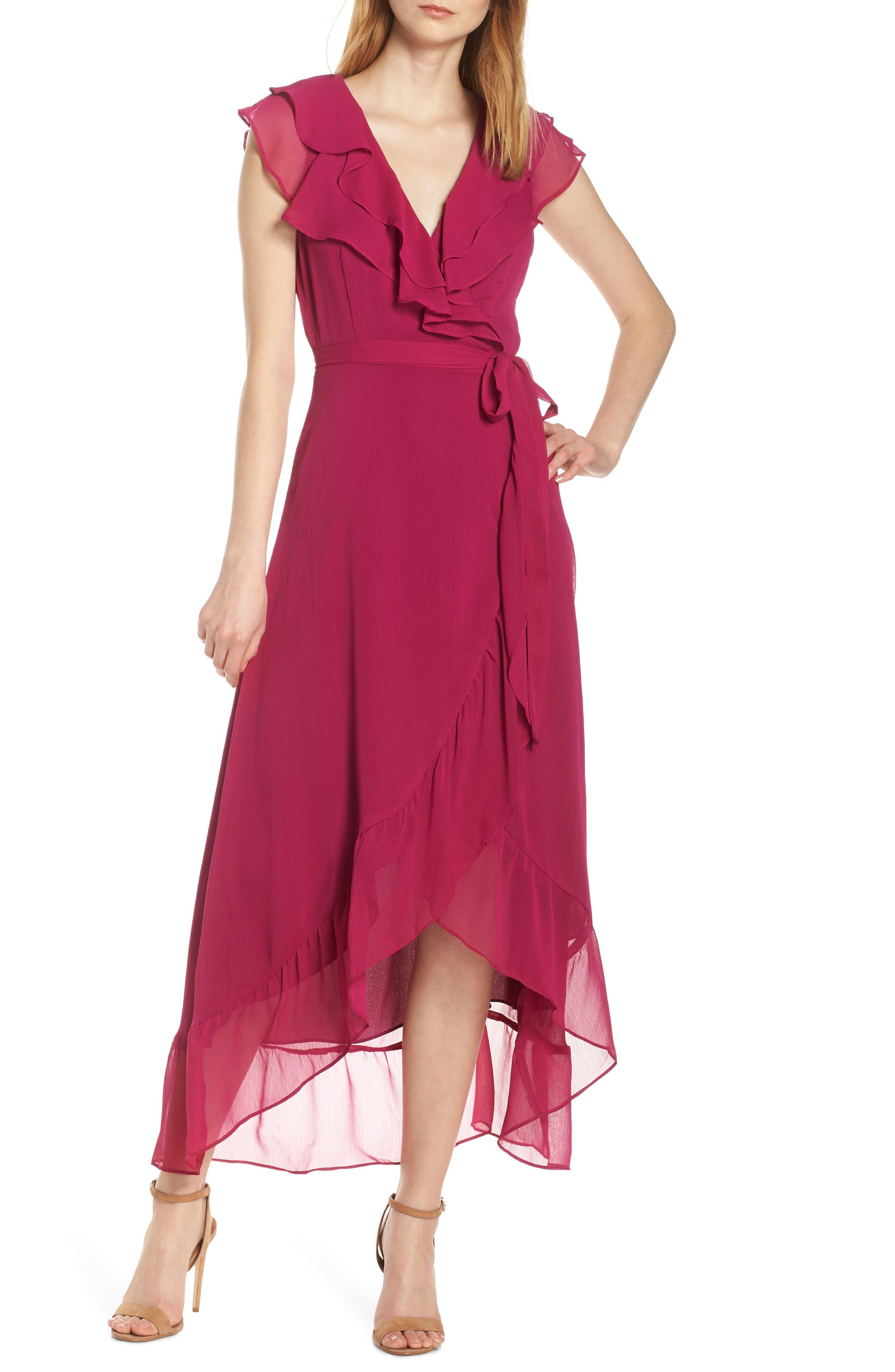 Charles Henry Ruffle Wrap Midi Dress, Purple