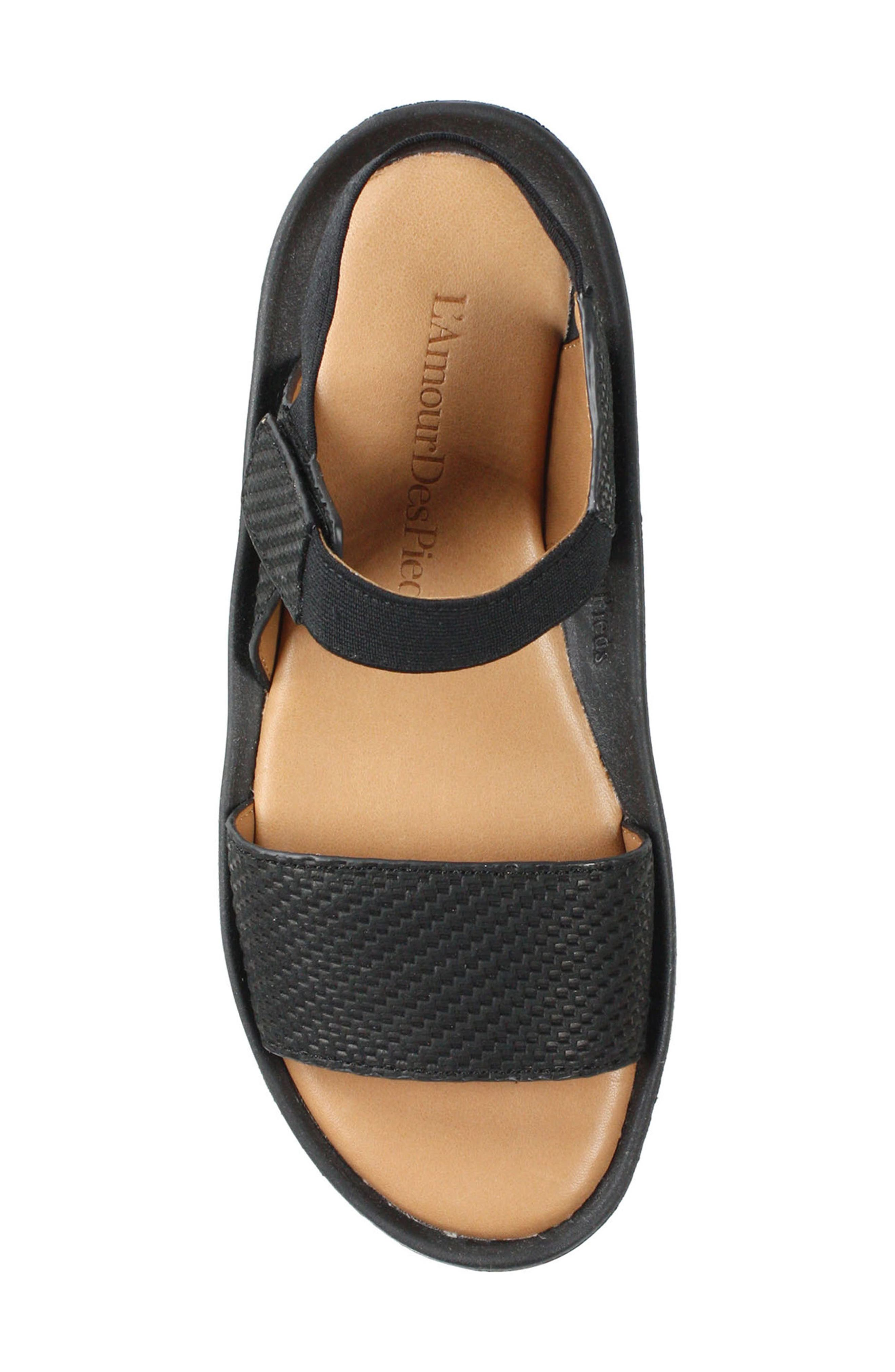 L'AMOUR DES PIEDS, Nolwyn Sandal, Alternate thumbnail 4, color, BLACK WOVEN LEATHER