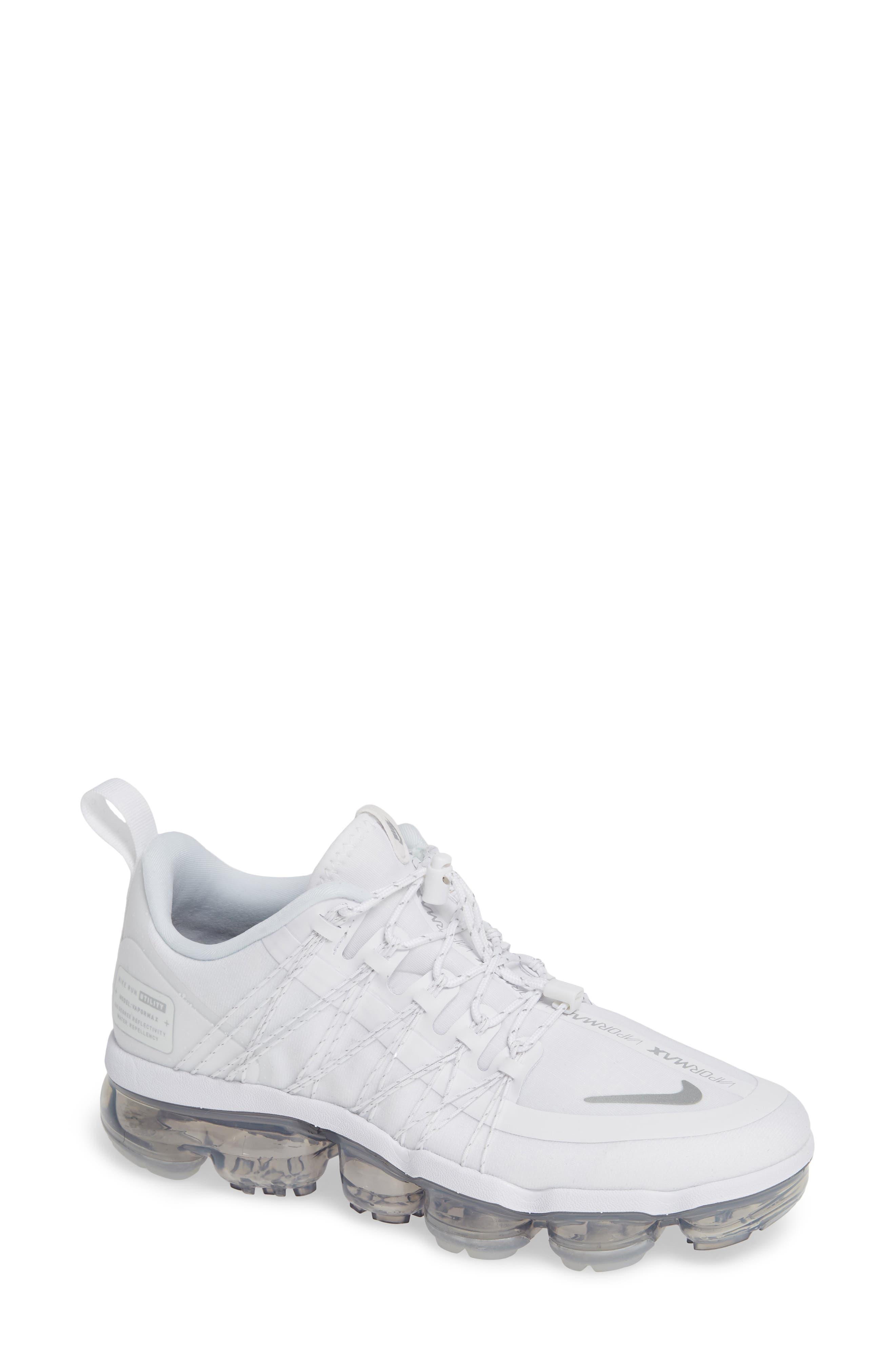 NIKE, Air VaporMax Run Utility Sneaker, Main thumbnail 1, color, WHITE/ REFLECT SILVER/ WHITE