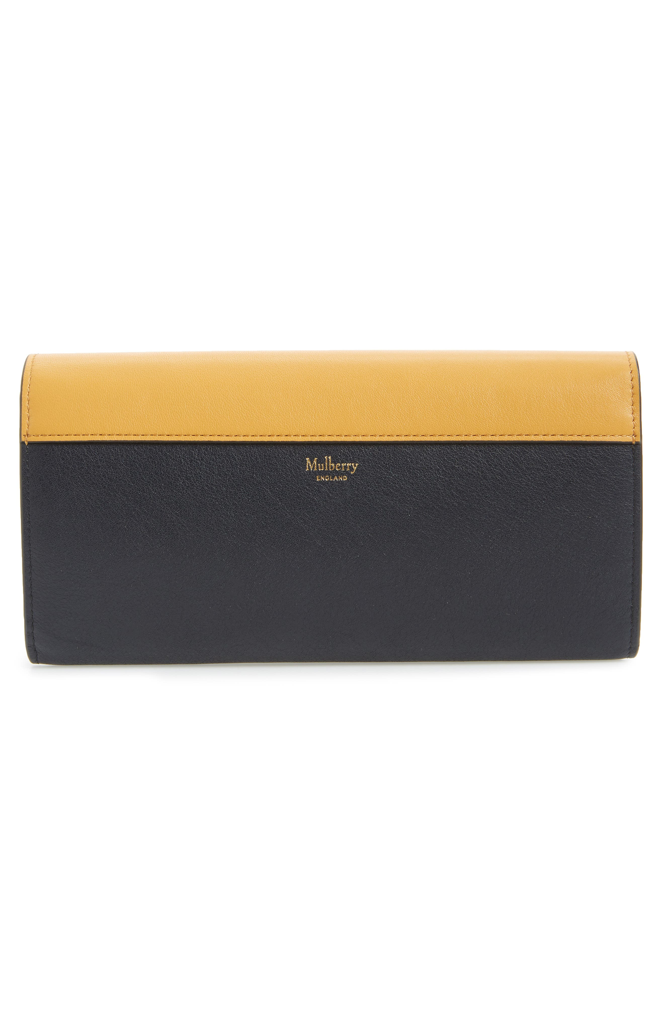 MULBERRY, Mulberrry Harlow Calfskin Leather & Genuine Snakeskin Wallet, Alternate thumbnail 3, color, MAIZE YELLOW/ MIDNIGHT
