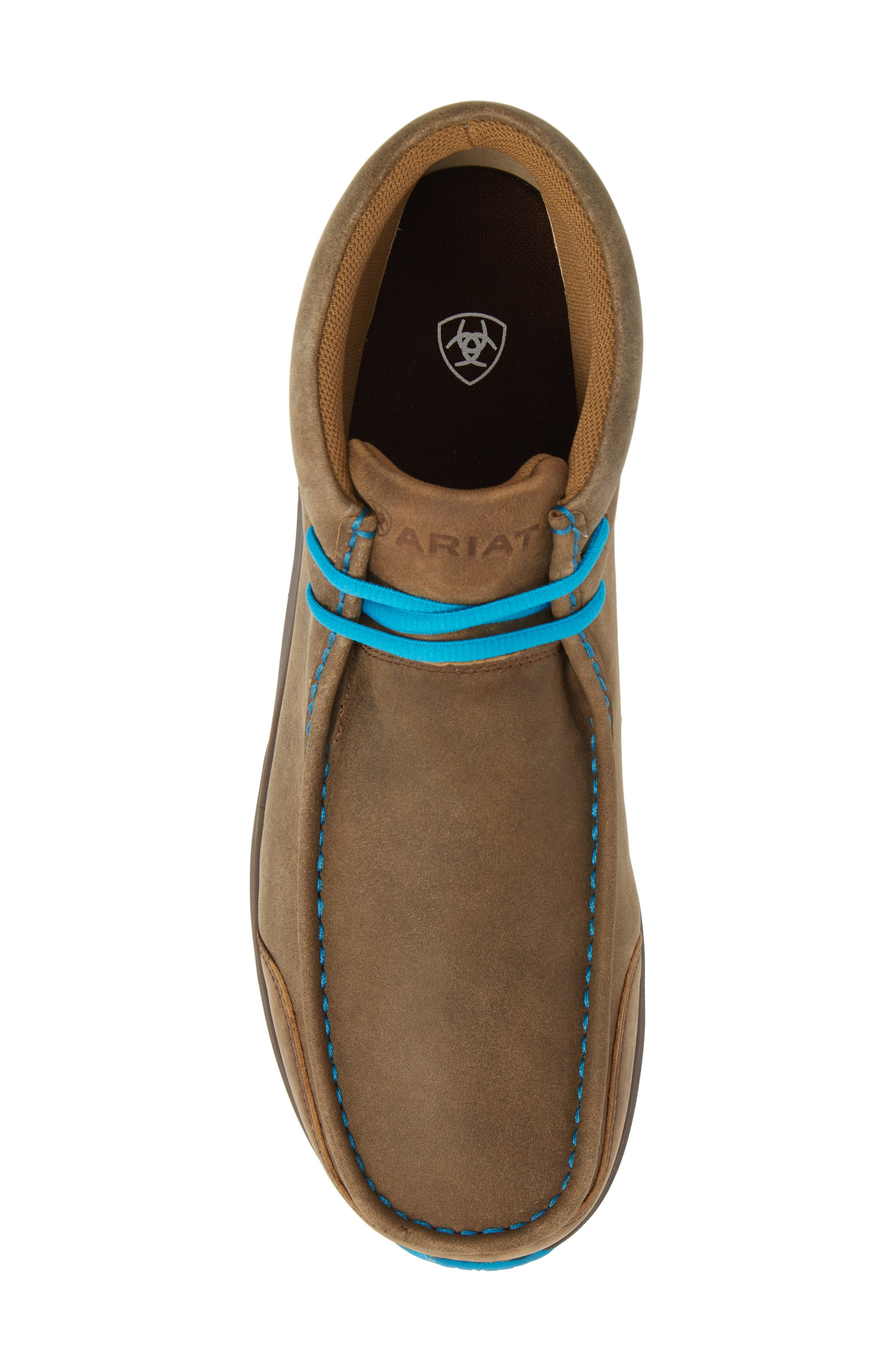 ARIAT, Spitfire Chukka Boot, Alternate thumbnail 5, color, BROWN BOMBER/ BLUE LEATHER
