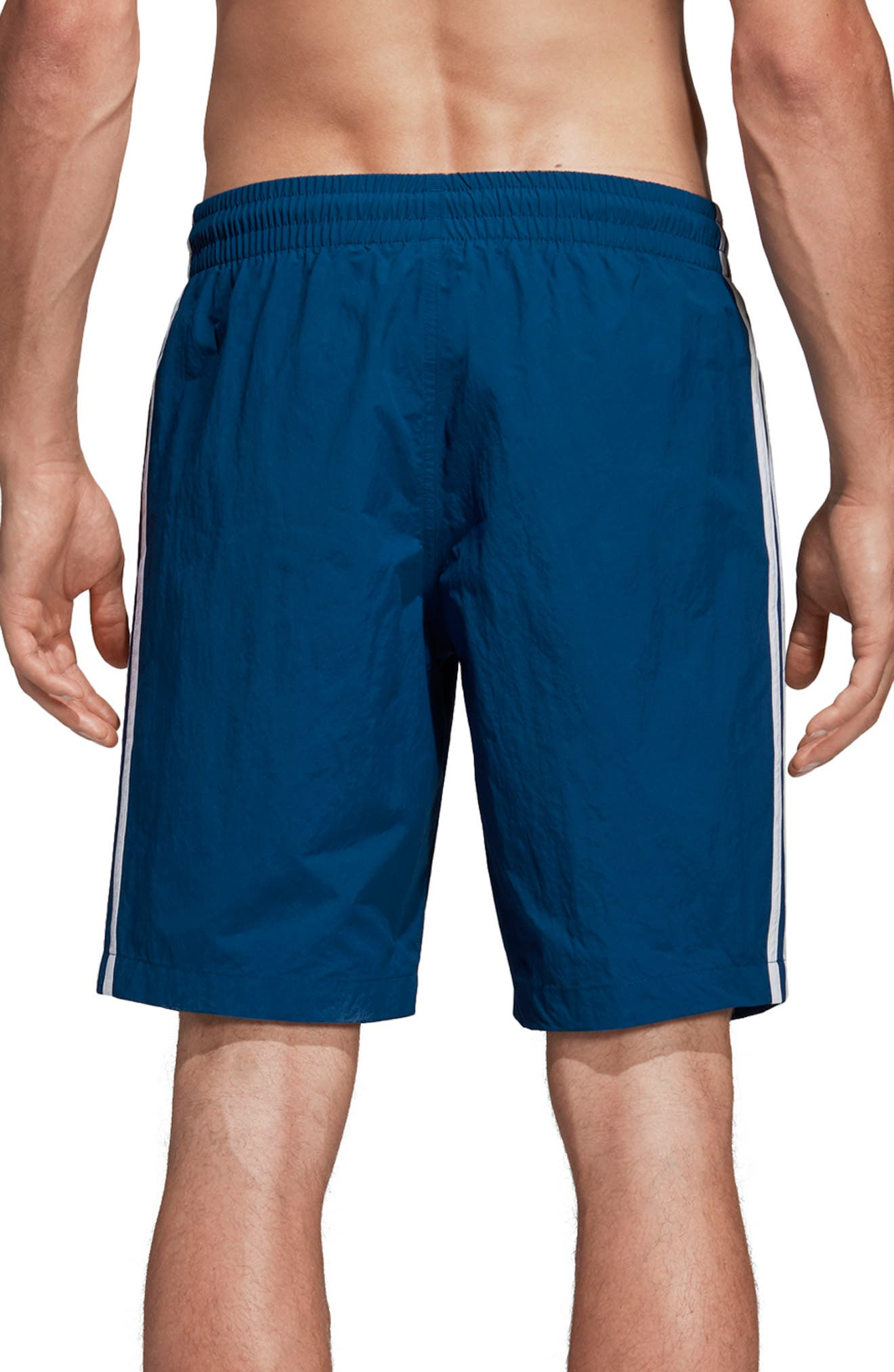 ADIDAS ORIGINALS, 3-Stripes Swim Trunks, Alternate thumbnail 2, color, LEGEND MARINE