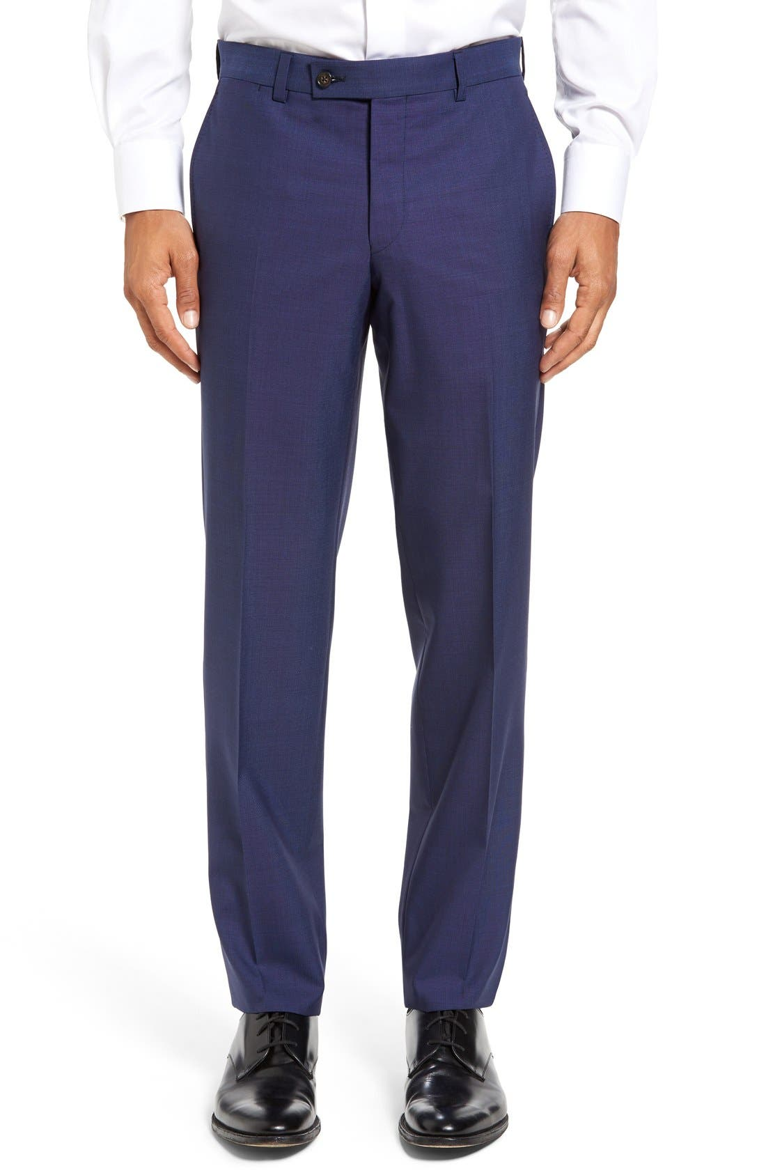 TED BAKER LONDON, Jefferson Flat Front Solid Wool Trousers, Main thumbnail 1, color, BLUE