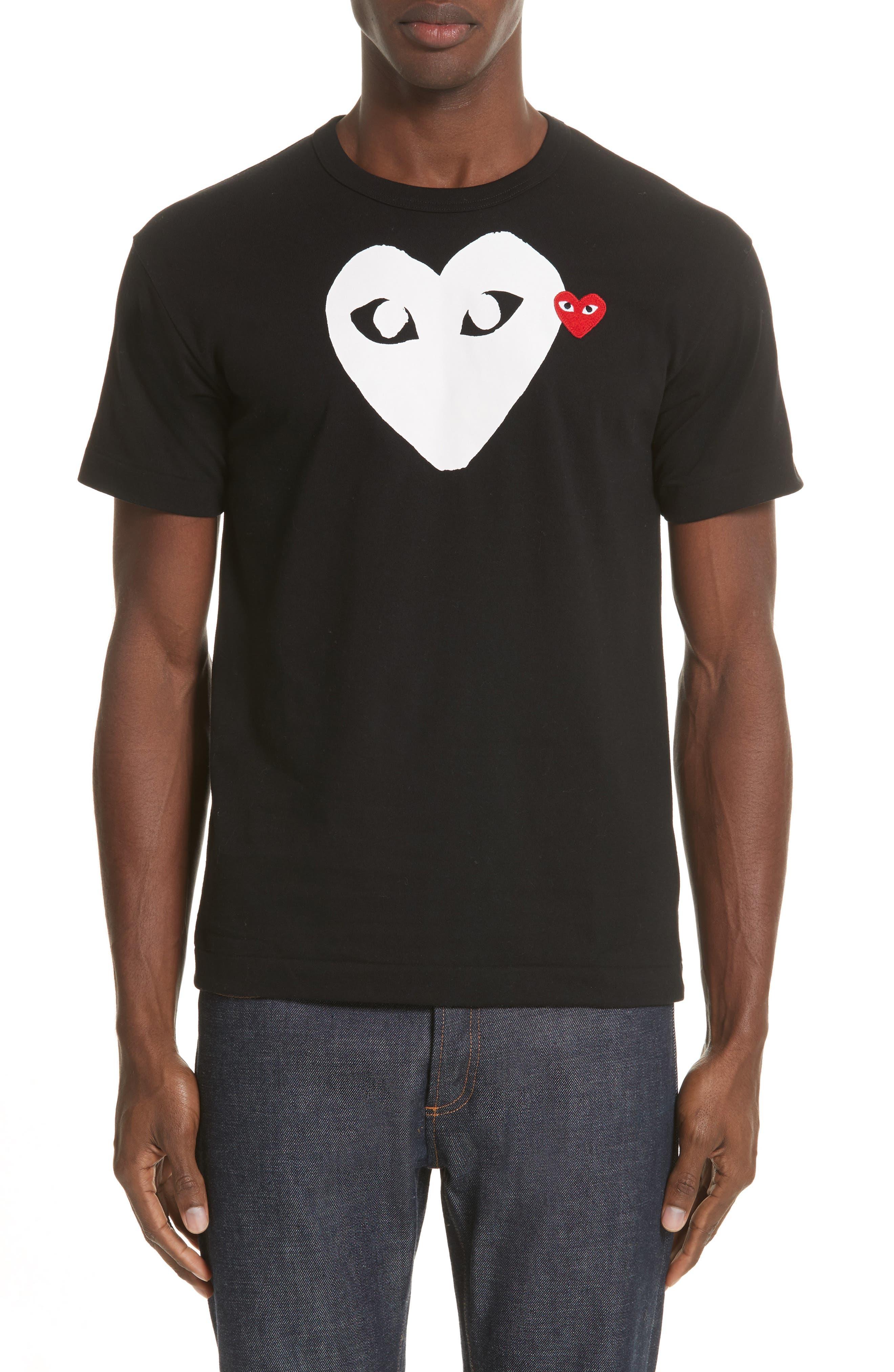 COMME DES GARÇONS PLAY X-Ray Heart Logo T-Shirt, Main, color, BLACK 1