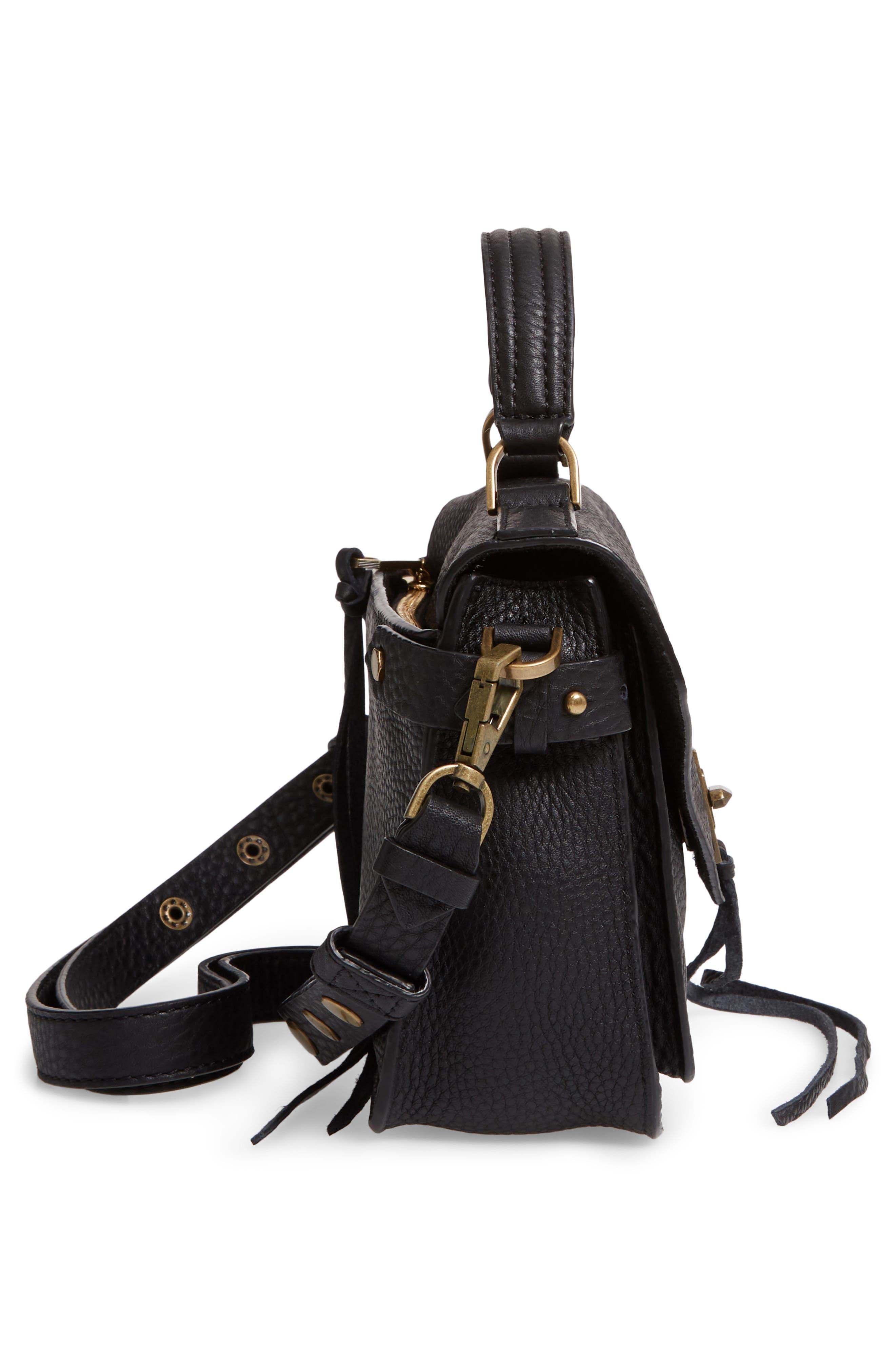 REBECCA MINKOFF, 'Small Darren' Leather Messenger Bag, Alternate thumbnail 5, color, BLACK