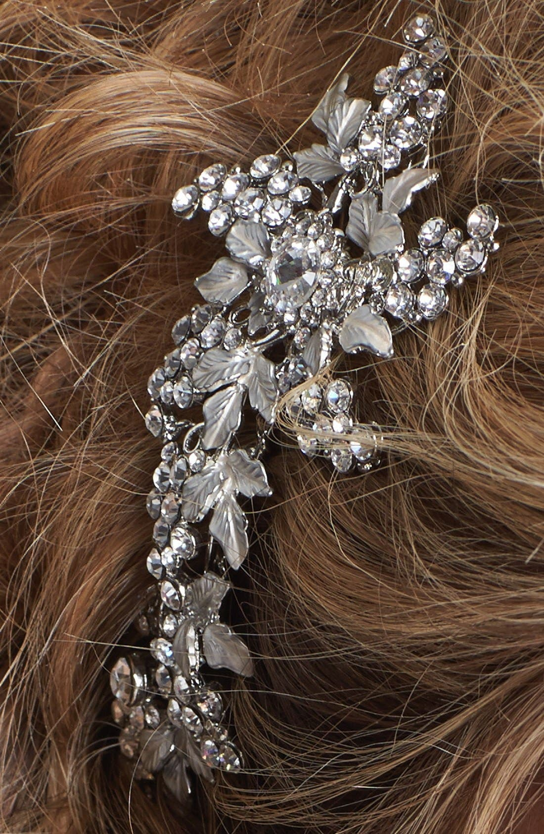 WEDDING BELLES NEW YORK, 'Jacqueline' Hair Comb, Alternate thumbnail 2, color, SILVER